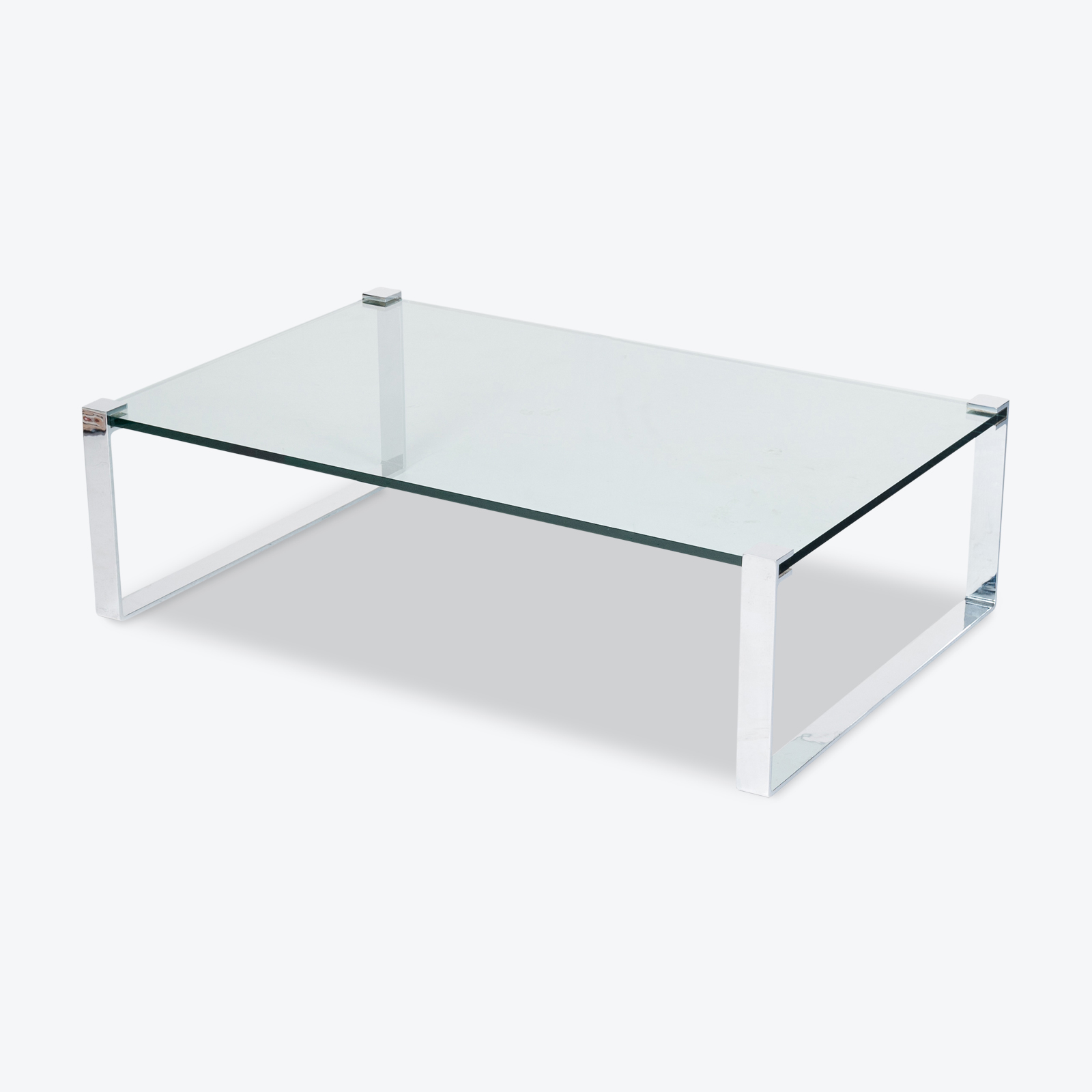 Model K 831 Rectangular Coffee Table With Glass And Polished Chrome By Friedrich Wilhelm Moller For Ronald Schmitt, 1970s, Germany Hero