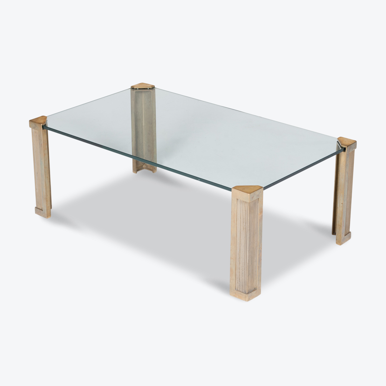 Rectangular Coffee Table In Brass And Glass By Peter Ghyczy, 1970s, The Netherlands Hero