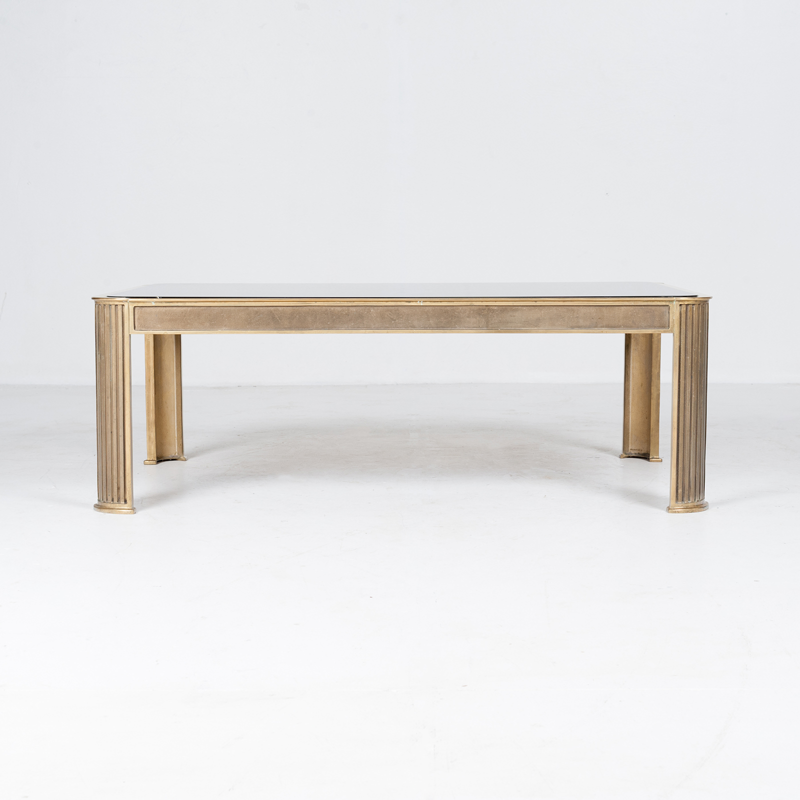 Rectangular Coffee Table With Solid Brass Frame By Peter Ghyczy, 1970s, The Netherlands 3
