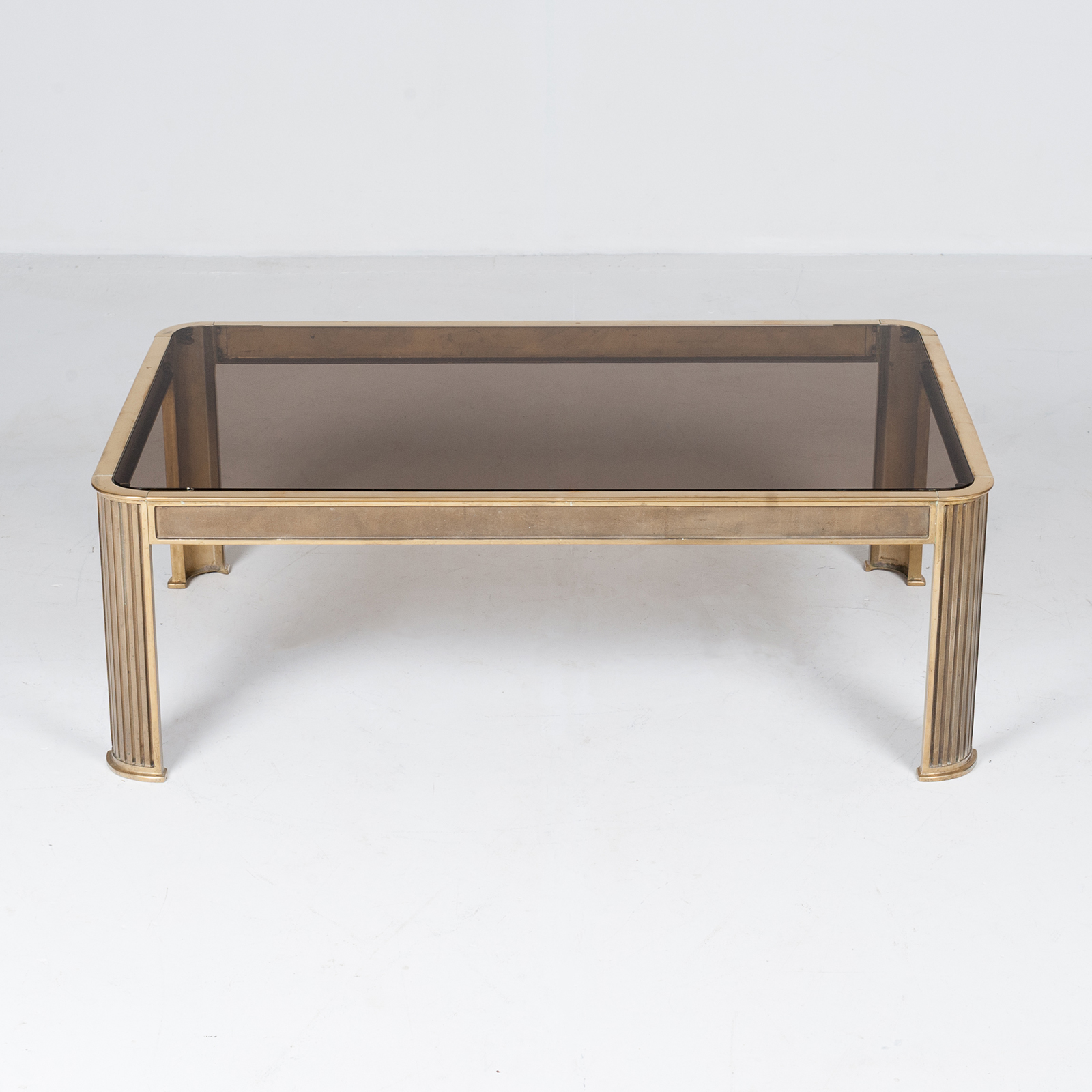Rectangular Coffee Table With Solid Brass Frame By Peter Ghyczy, 1970s, The Netherlands 4