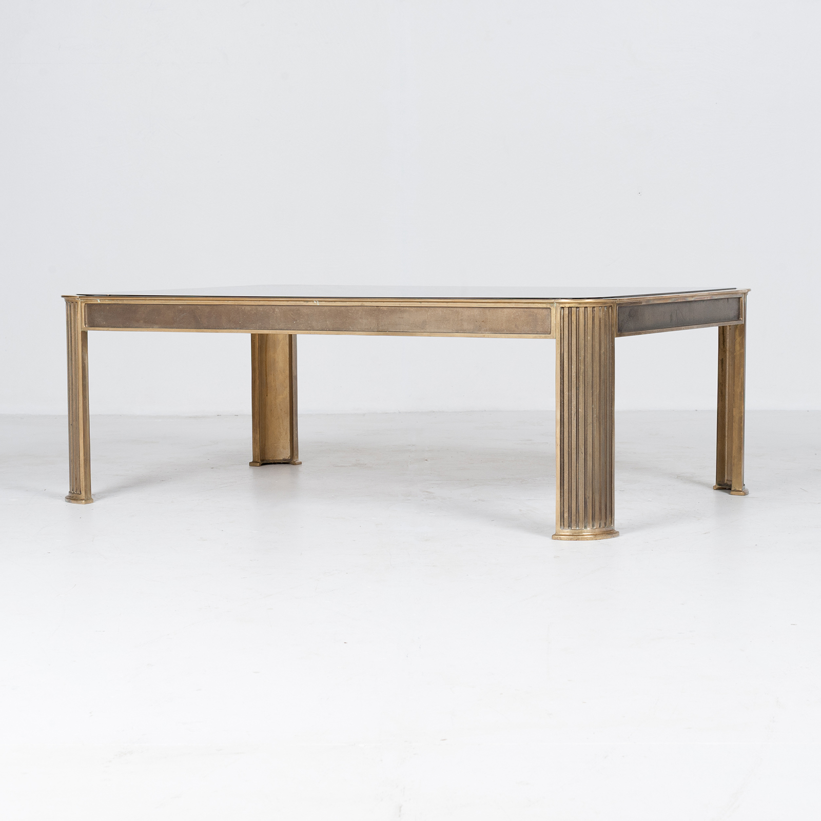 Rectangular Coffee Table With Solid Brass Frame By Peter Ghyczy, 1970s, The Netherlands 5