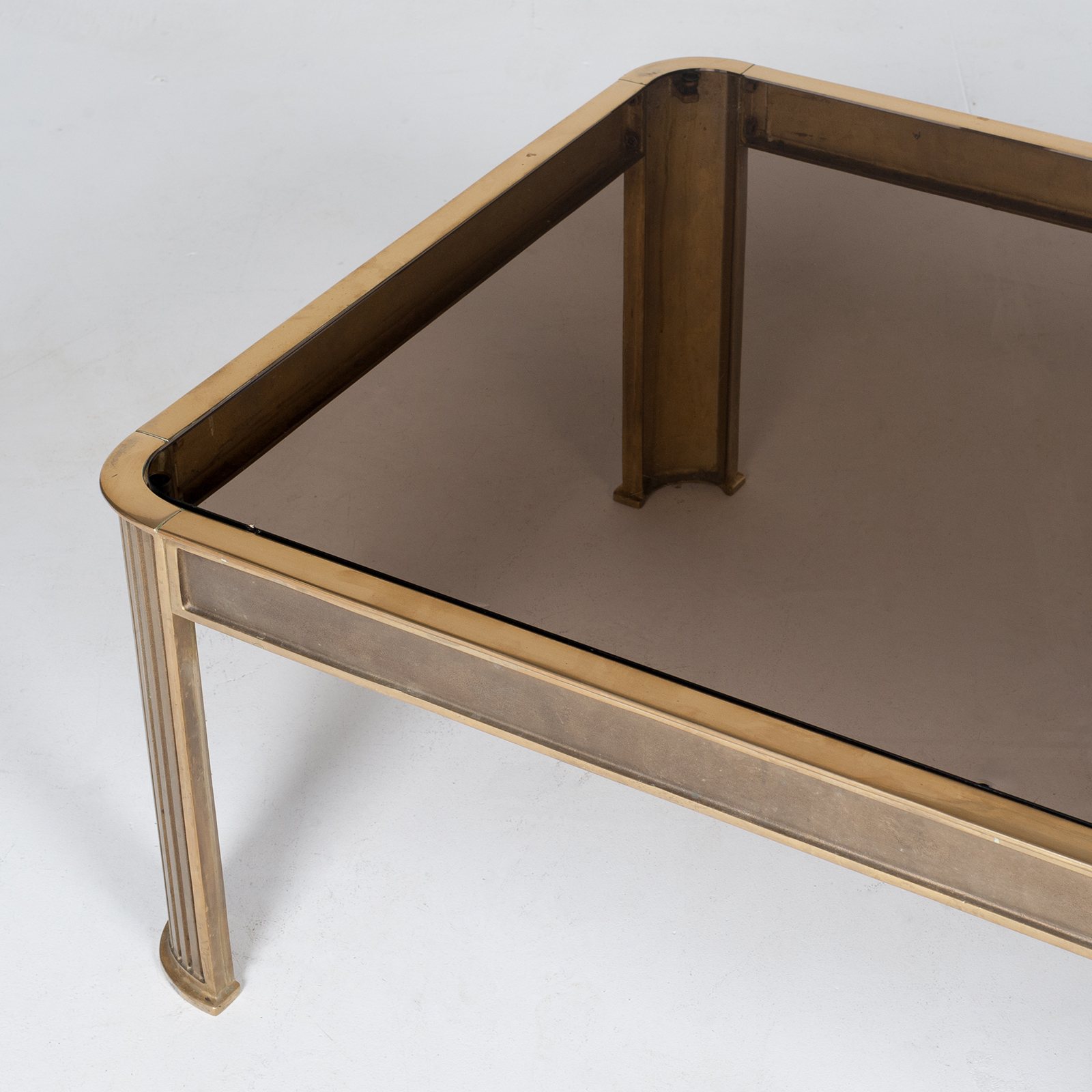 Rectangular Coffee Table With Solid Brass Frame By Peter Ghyczy, 1970s, The Netherlands 7