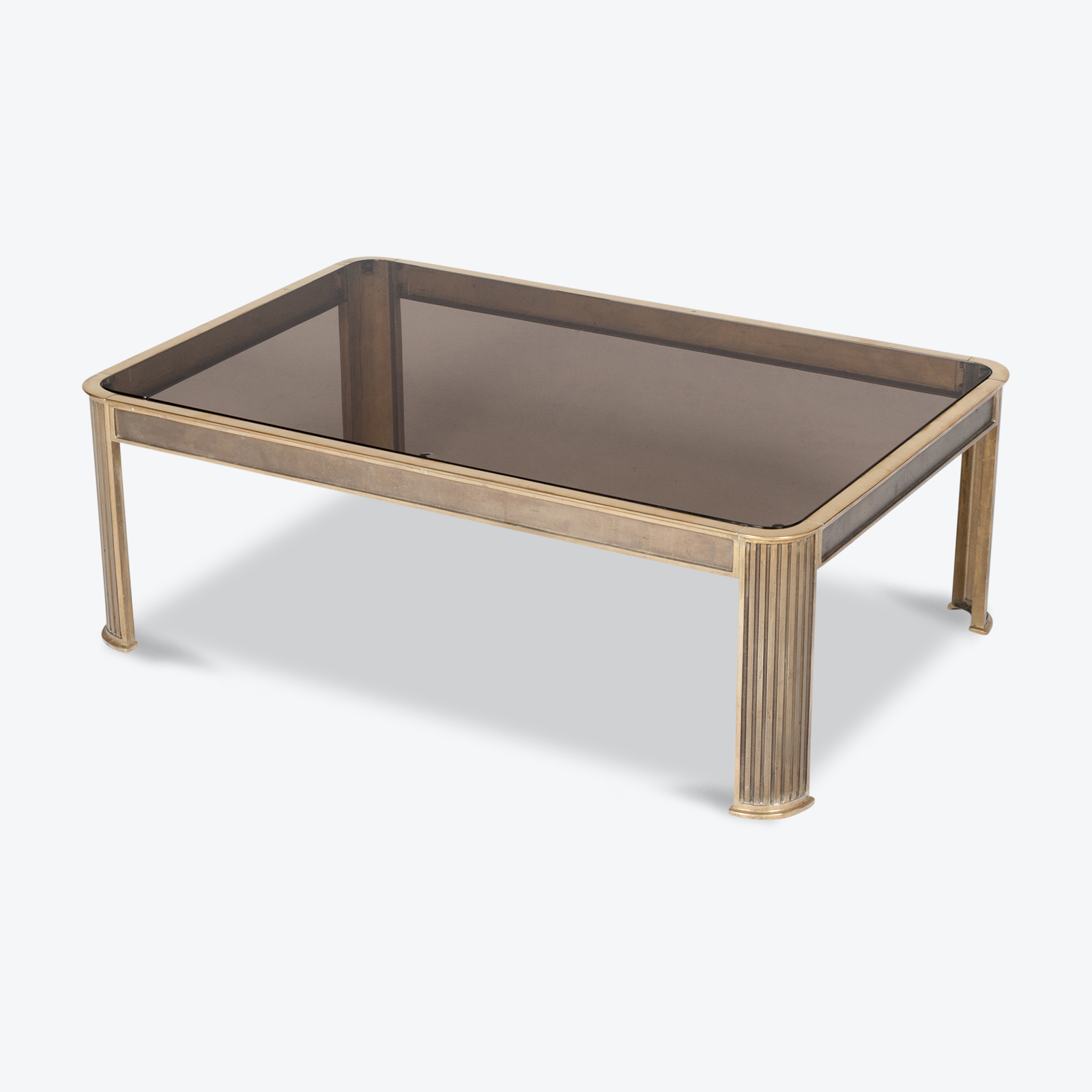 Rectangular Coffee Table With Solid Brass Frame By Peter Ghyczy, 1970s, The Netherlands Hero