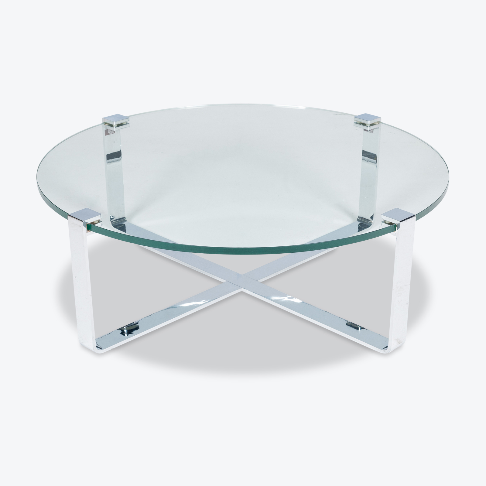 Round Coffee Table In Glass And Polished Chrome By Friedrich Wilhelm Moller For Ronald Schmitt, 1970s, Germany Hero