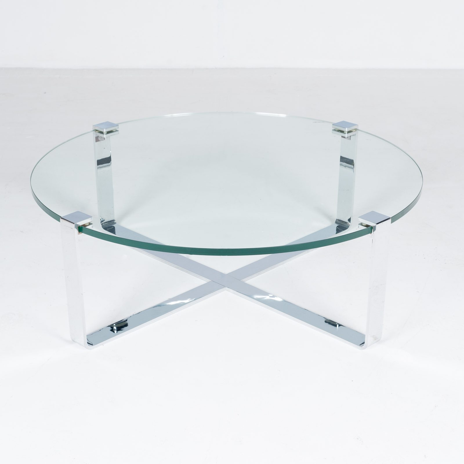 Round Coffee Table In Glass And Polished Chrome By Friedrich Wilhelm Moller For Ronald Schmitt, 1970s, Germany66