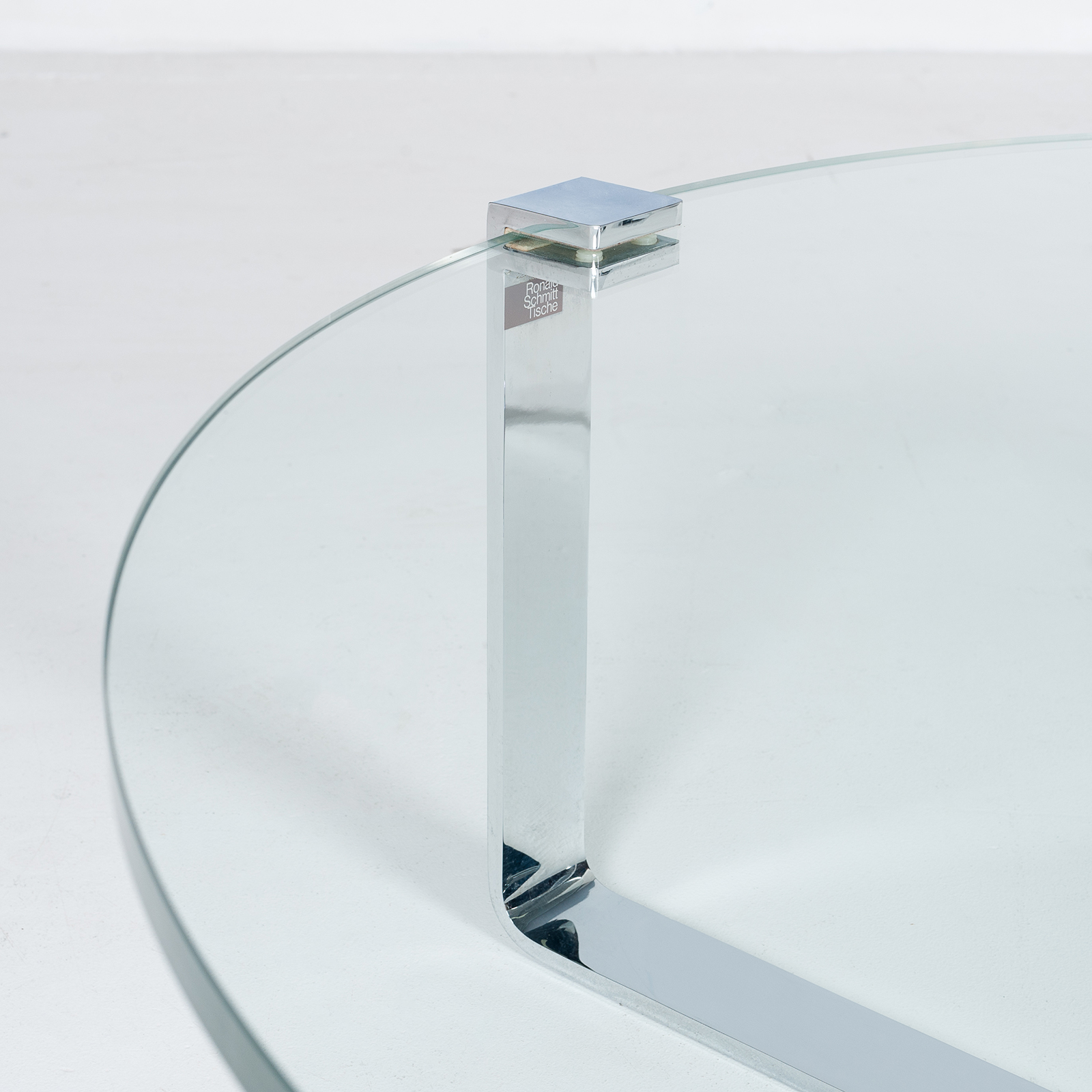 Round Coffee Table In Glass And Polished Chrome By Friedrich Wilhelm Moller For Ronald Schmitt, 1970s, Germany67