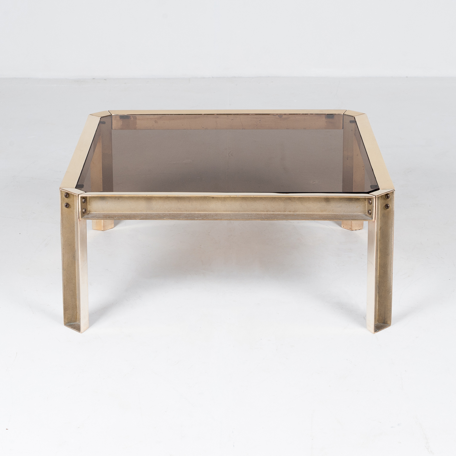 Side Table By Peter Ghyczy With Hollow Cast Brass Frame And Smoked Glass Top, 1970s, The Netherlands 26