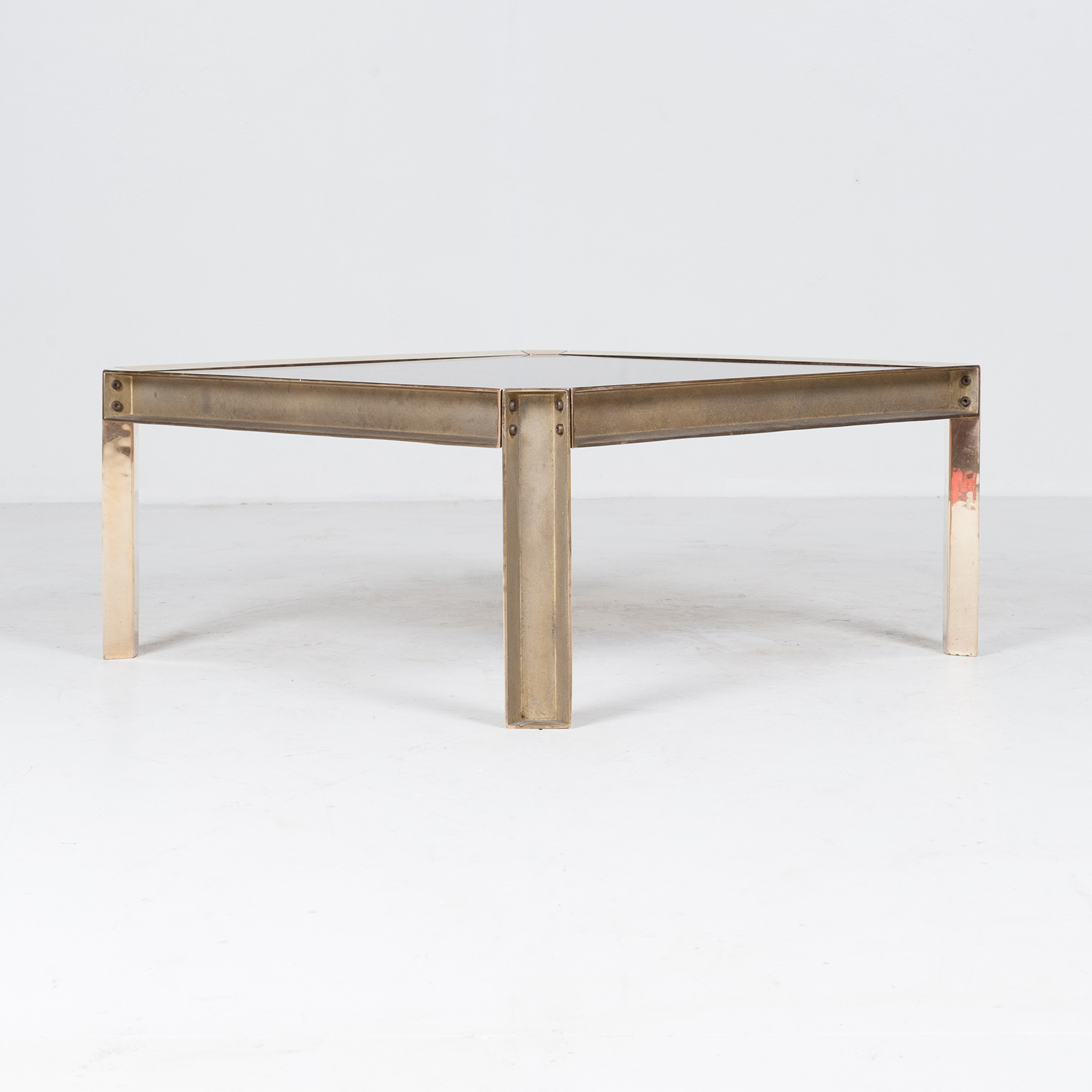 Side Table By Peter Ghyczy With Hollow Cast Brass Frame And Smoked Glass Top, 1970s, The Netherlands 27