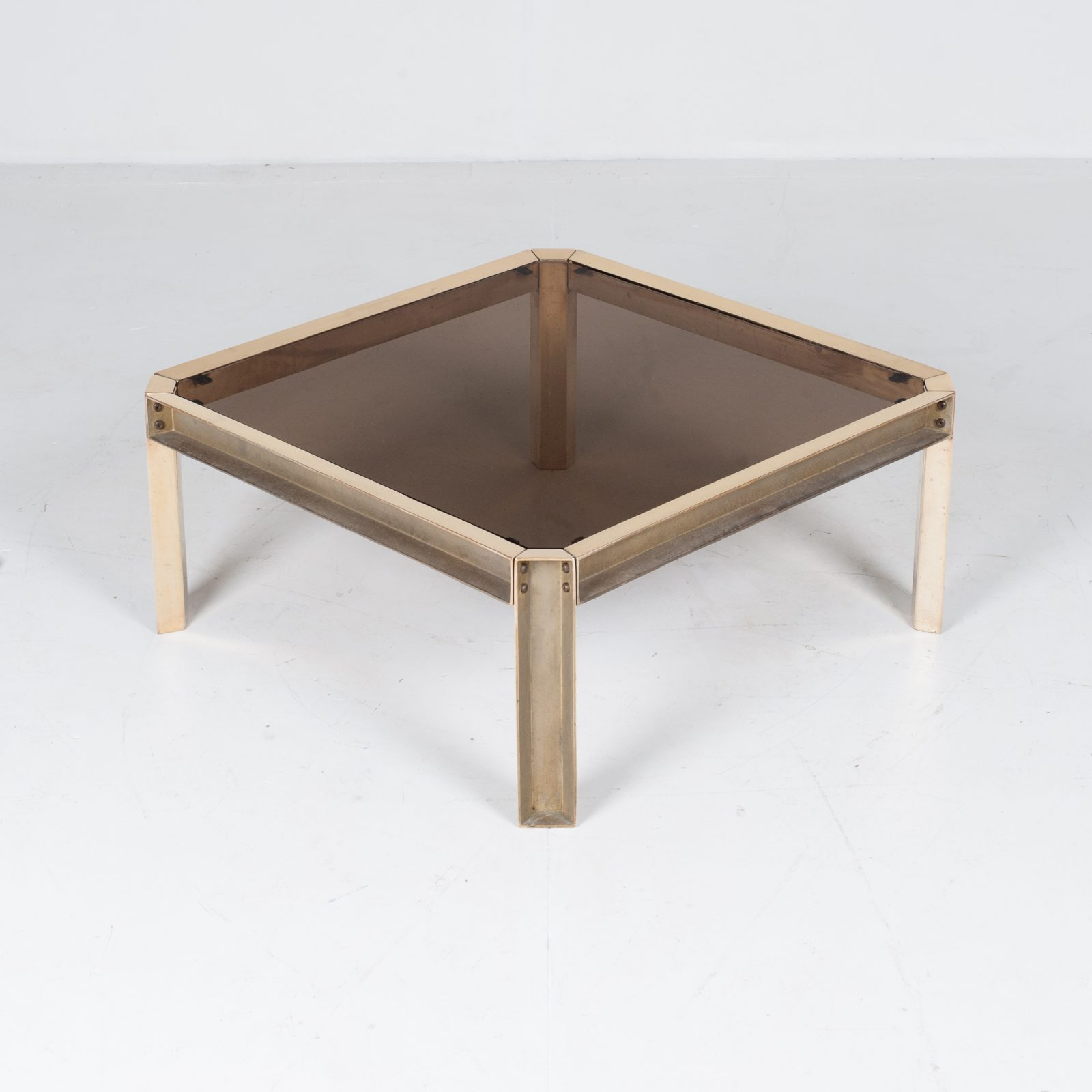 Side Table By Peter Ghyczy With Hollow Cast Brass Frame And Smoked Glass Top, 1970s, The Netherlands 28