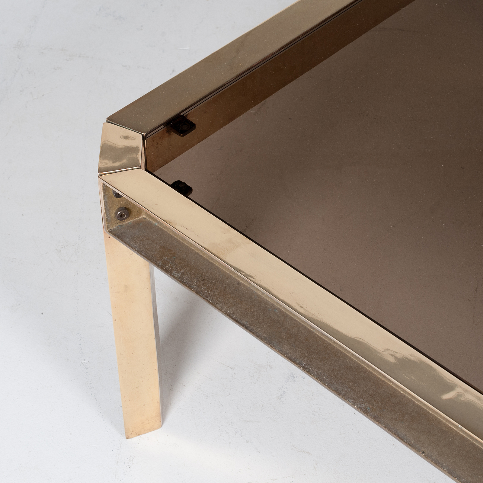 Side Table By Peter Ghyczy With Hollow Cast Brass Frame And Smoked Glass Top, 1970s, The Netherlands 29