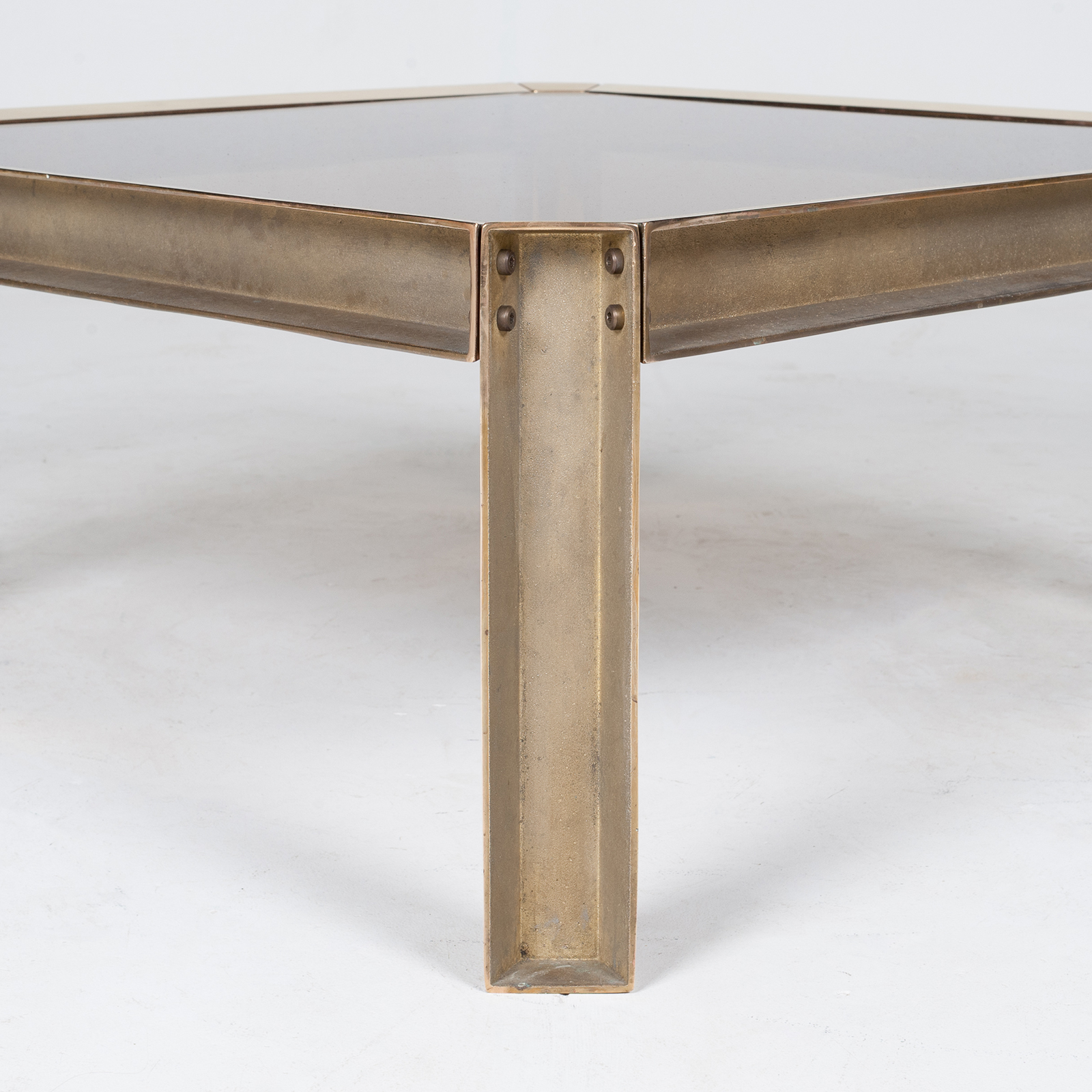 Side Table By Peter Ghyczy With Hollow Cast Brass Frame And Smoked Glass Top, 1970s, The Netherlands 30