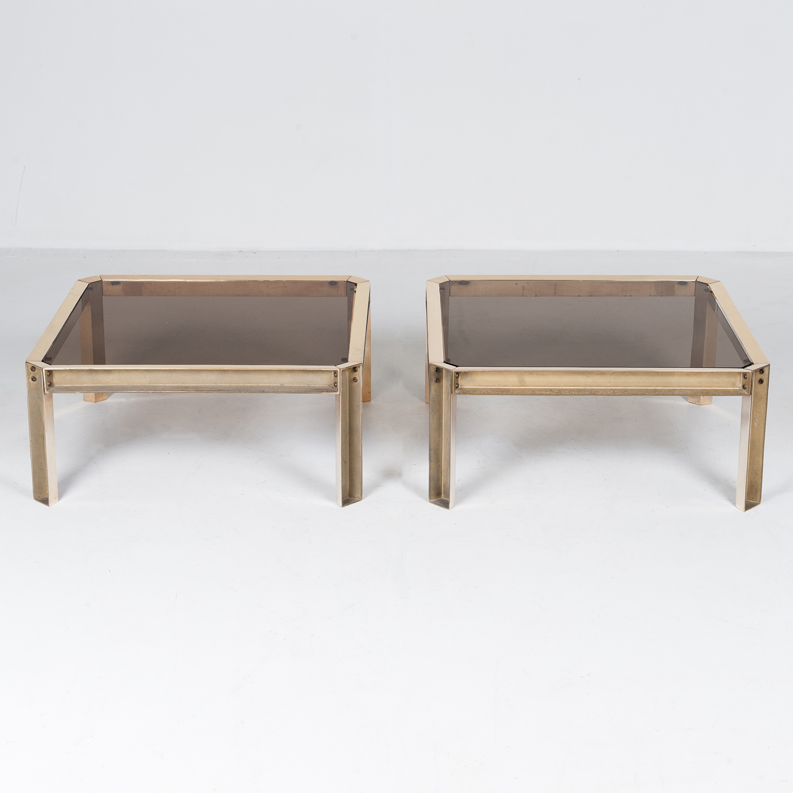 Side Table By Peter Ghyczy With Hollow Cast Brass Frame And Smoked Glass Top, 1970s, The Netherlands 32