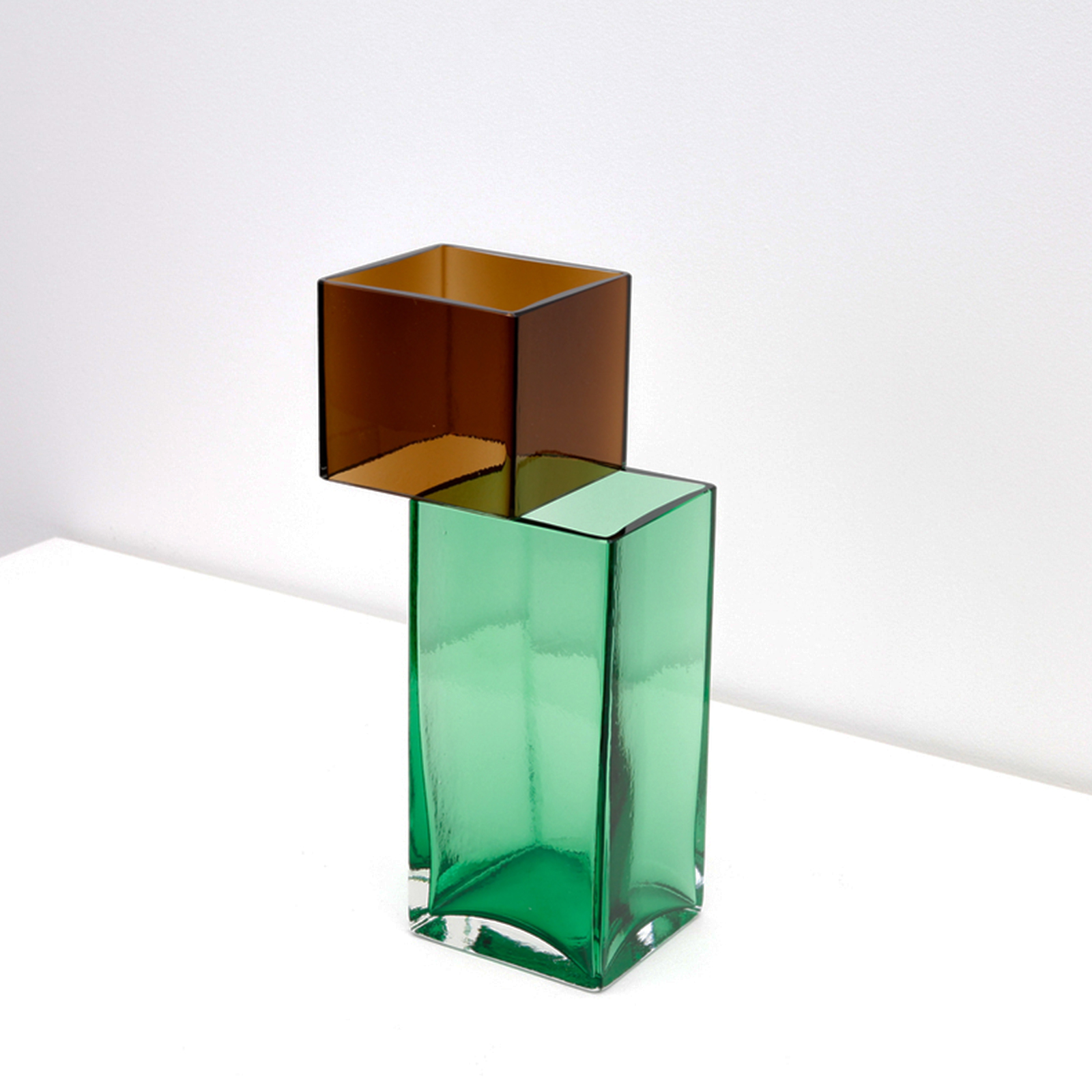 Graft Vase A2 In Tobacco And Green Hand Blown Glass By Liam Fleming 2