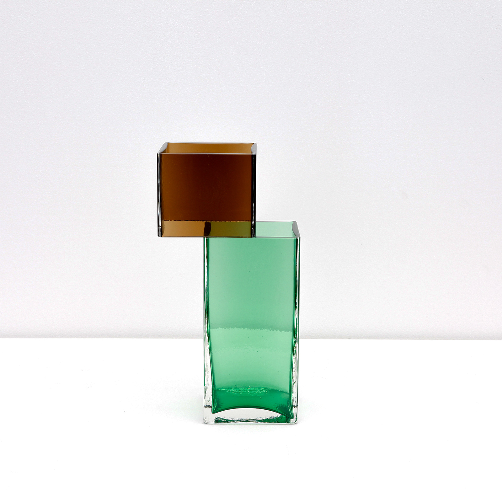 Graft Vase A2 In Tobacco And Green Hand Blown Glass By Liam Fleming Hero