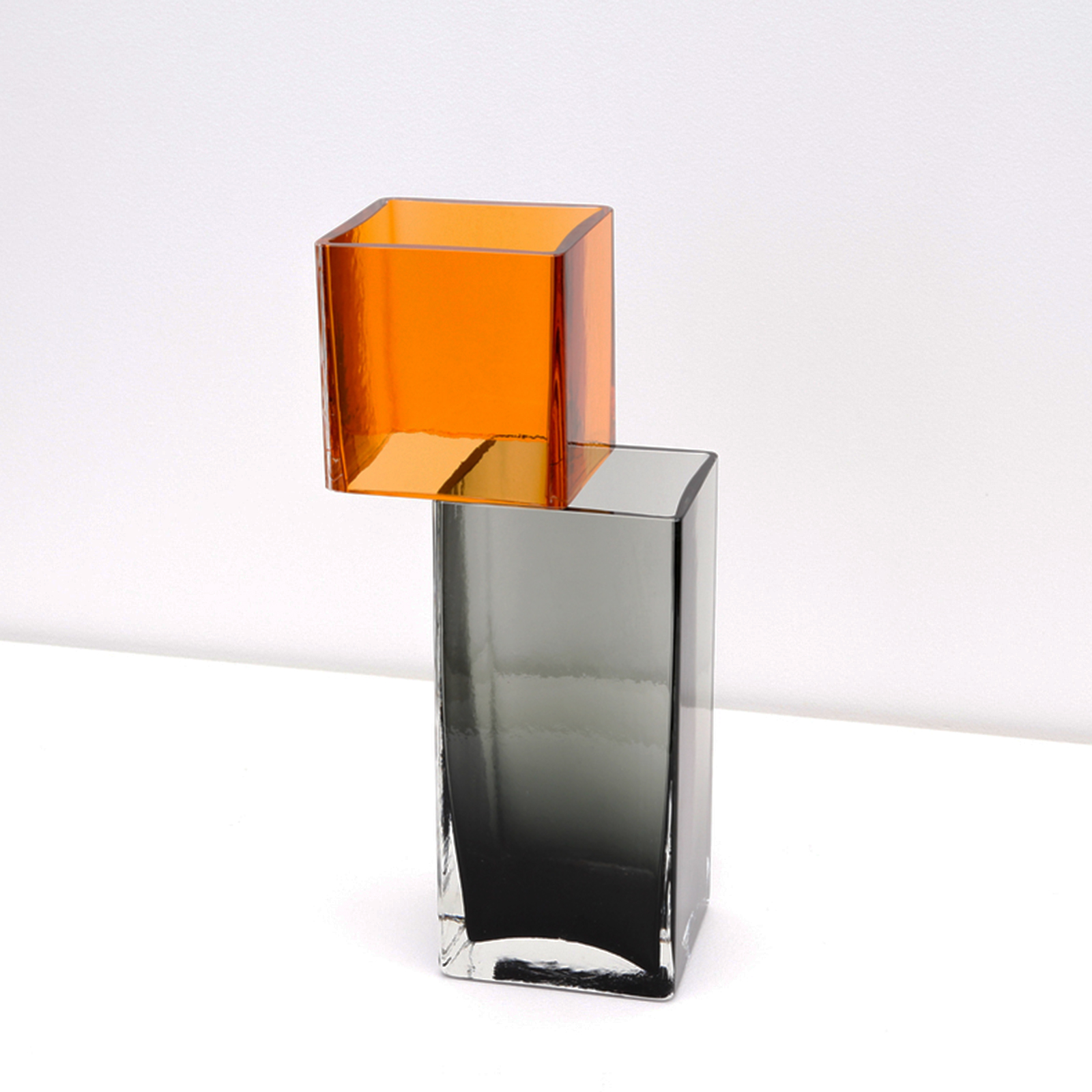 Graft Vase B In Charcoal And Amber Hand Blown Glass By Liam Fleming 2