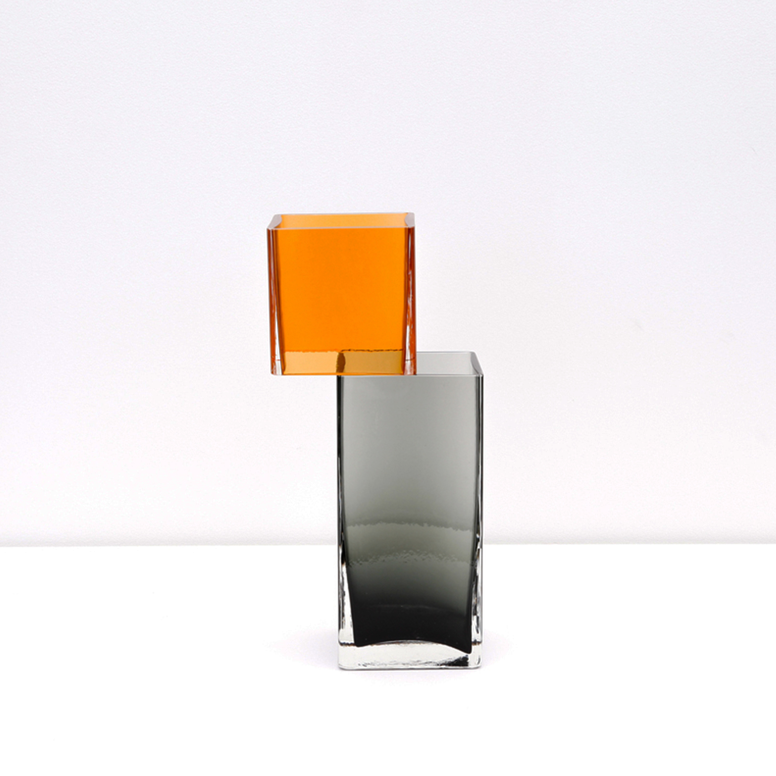 Graft Vase B In Charcoal And Amber Hand Blown Glass By Liam Fleming Hero