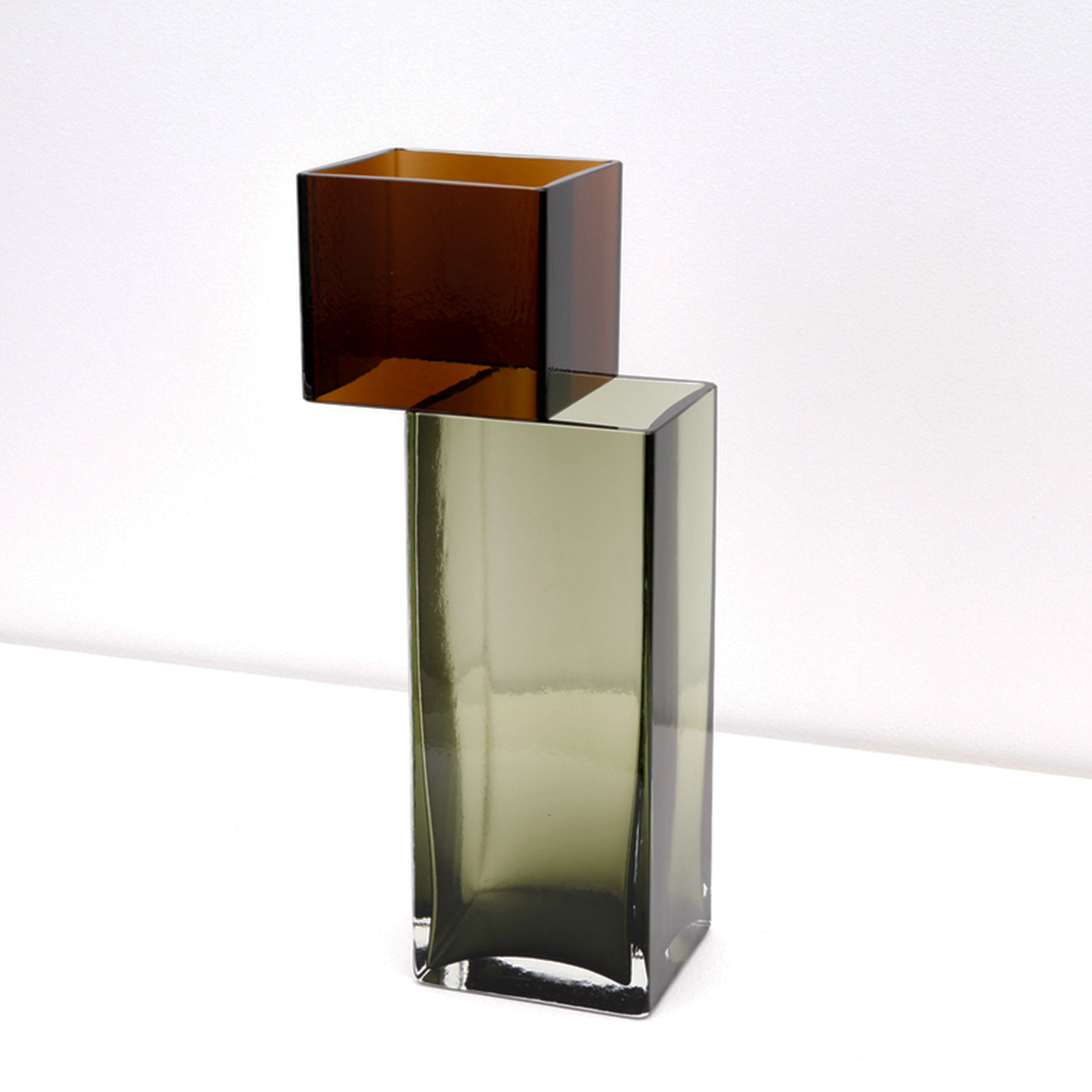 Graft Vase C In Cognac And Sage Hand Blown Glass By Liam Fleming 2