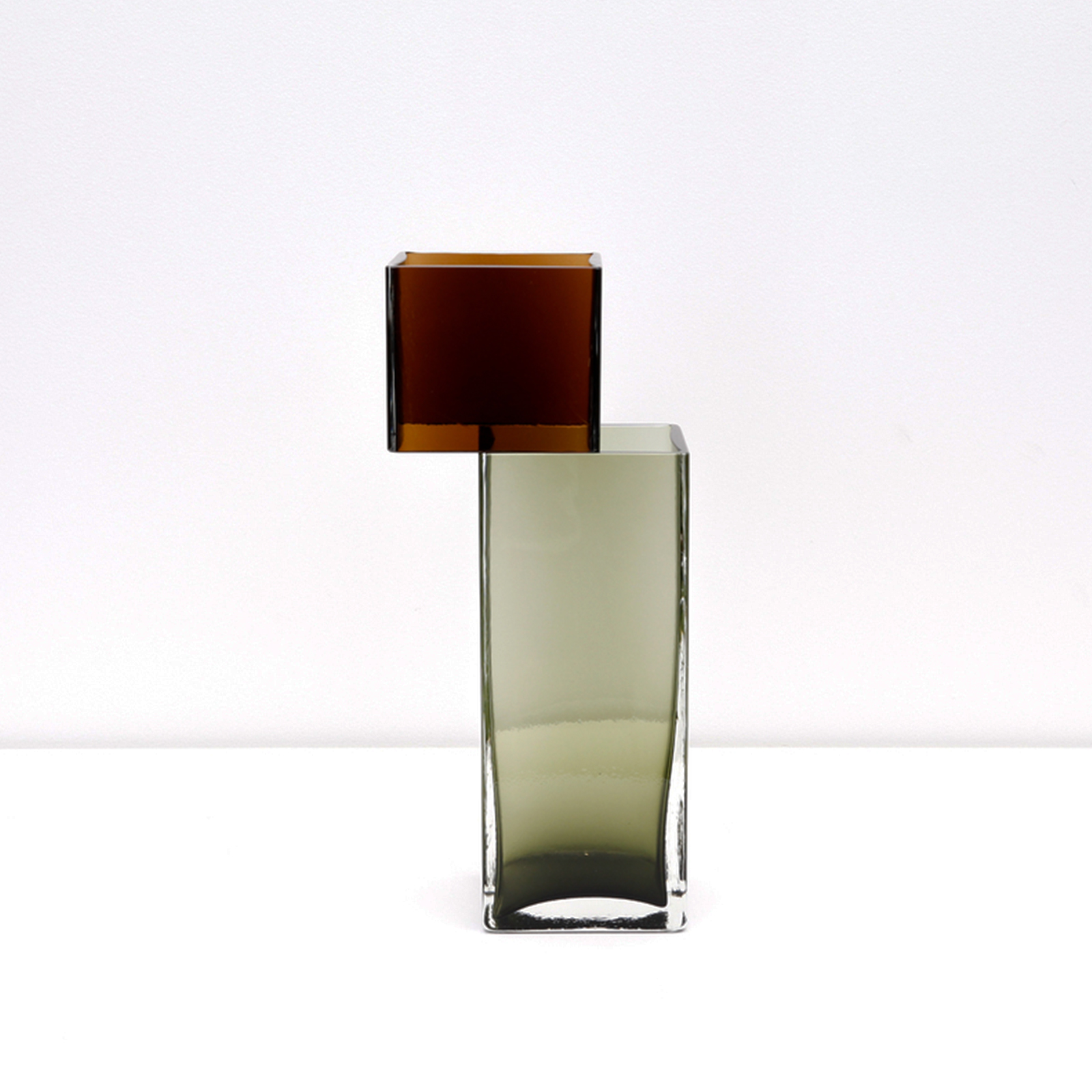 Graft Vase C In Cognac And Sage Hand Blown Glass By Liam Fleming Hero