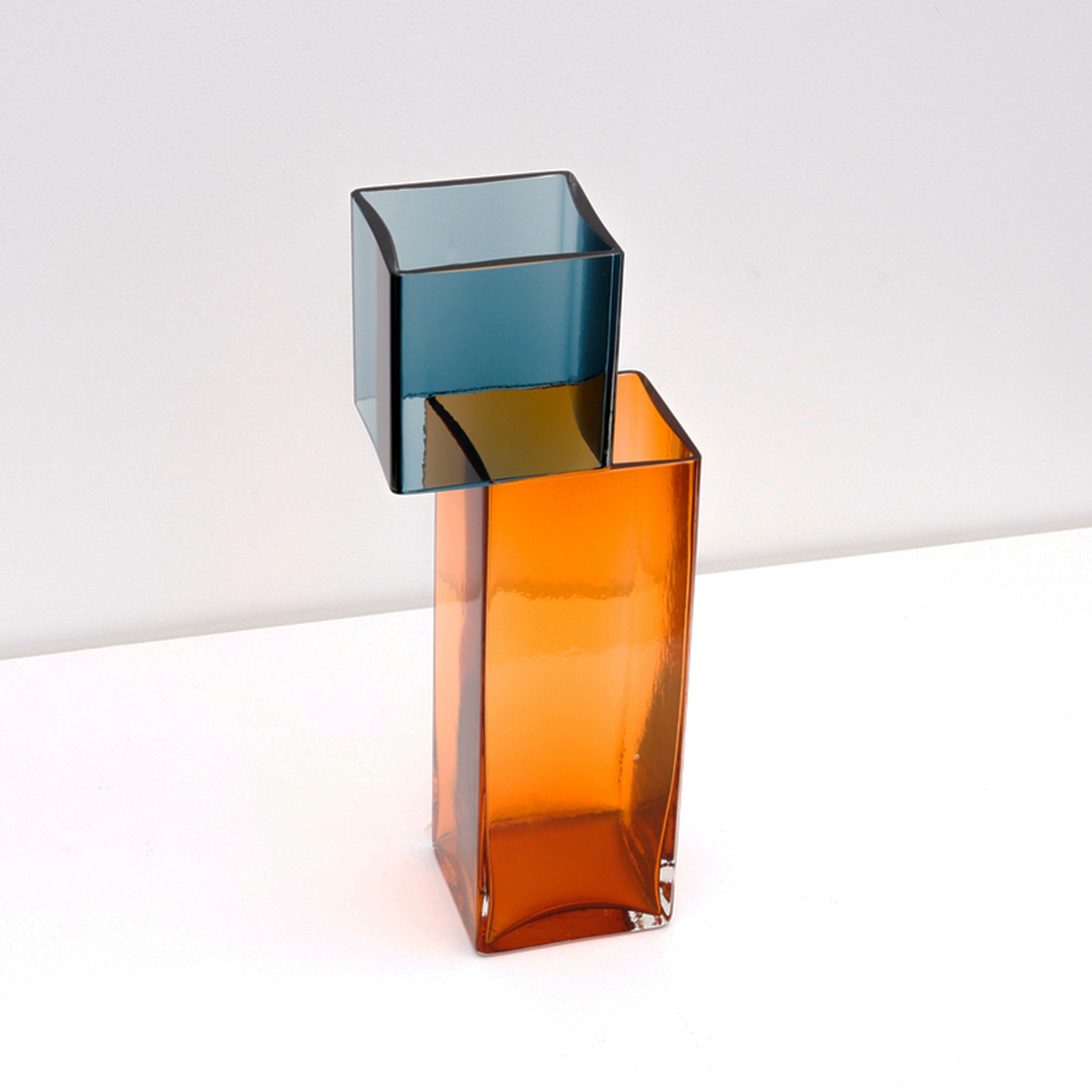 Graft Vase D In Ocean And Amber Hand Blown Glass By Liam Fleming 2