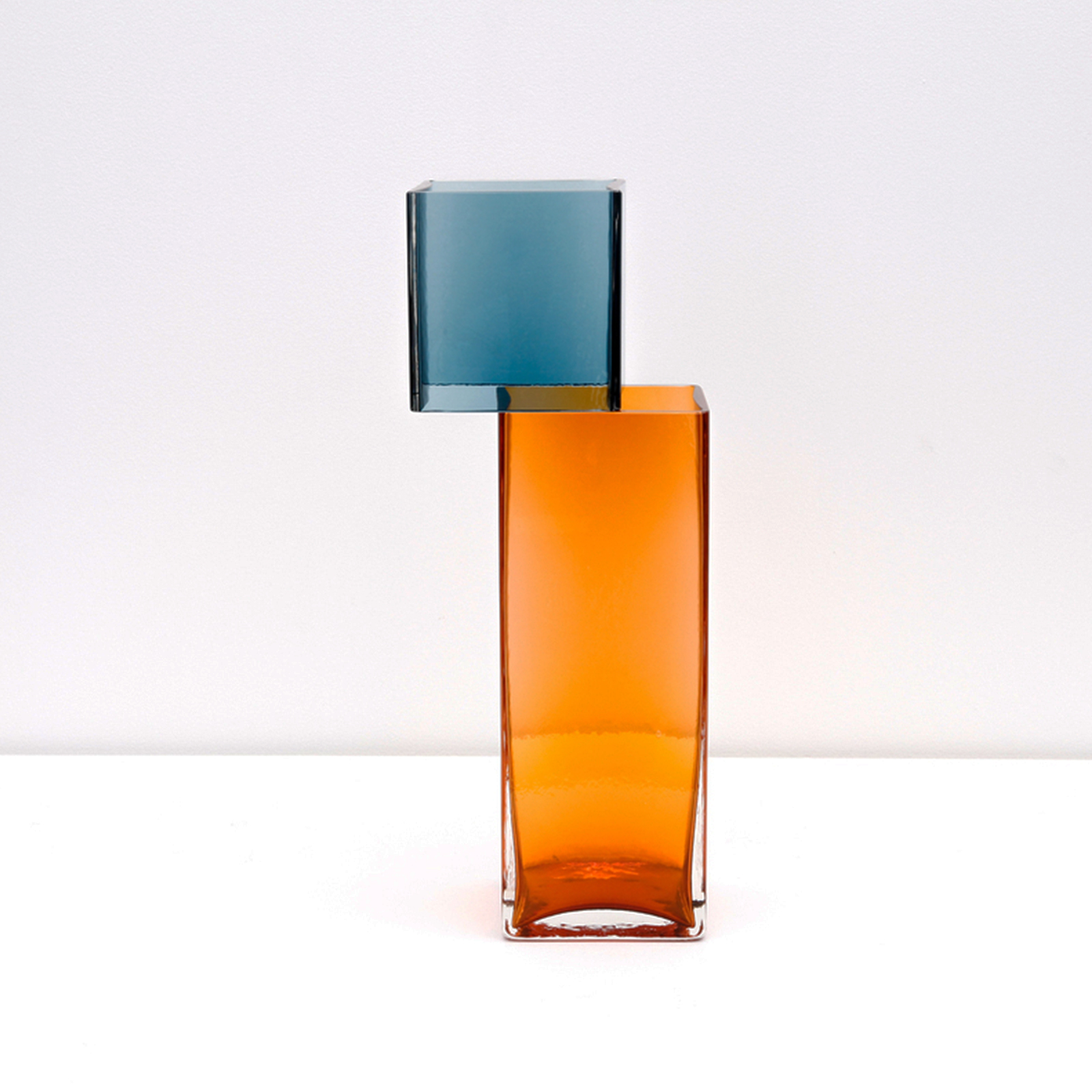 Graft Vase D In Ocean And Amber Hand Blown Glass By Liam Fleming Hero