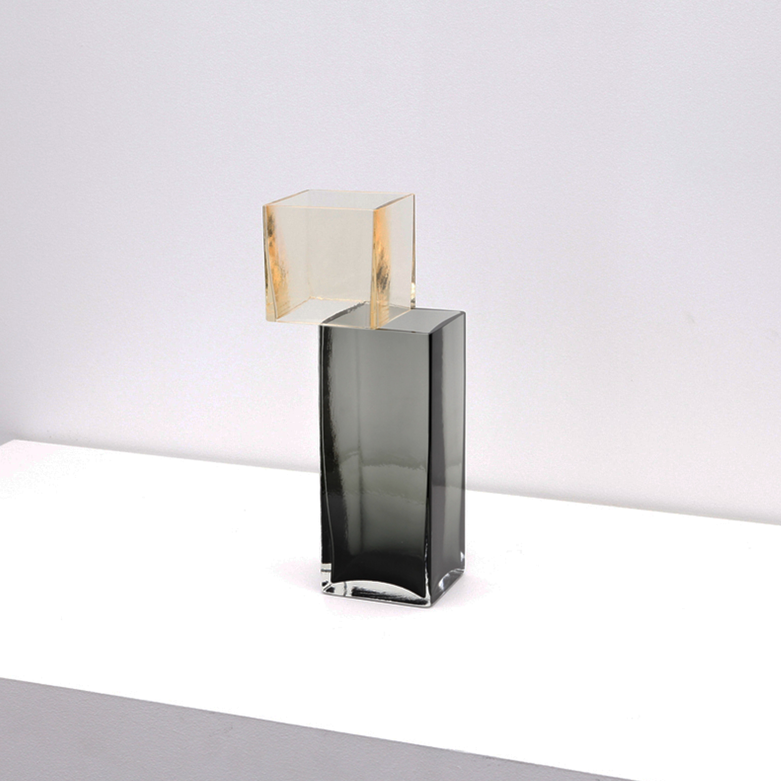 Graft Vase F In Champagne And Charcoal Hand Blown Glass By Liam Fleming 2