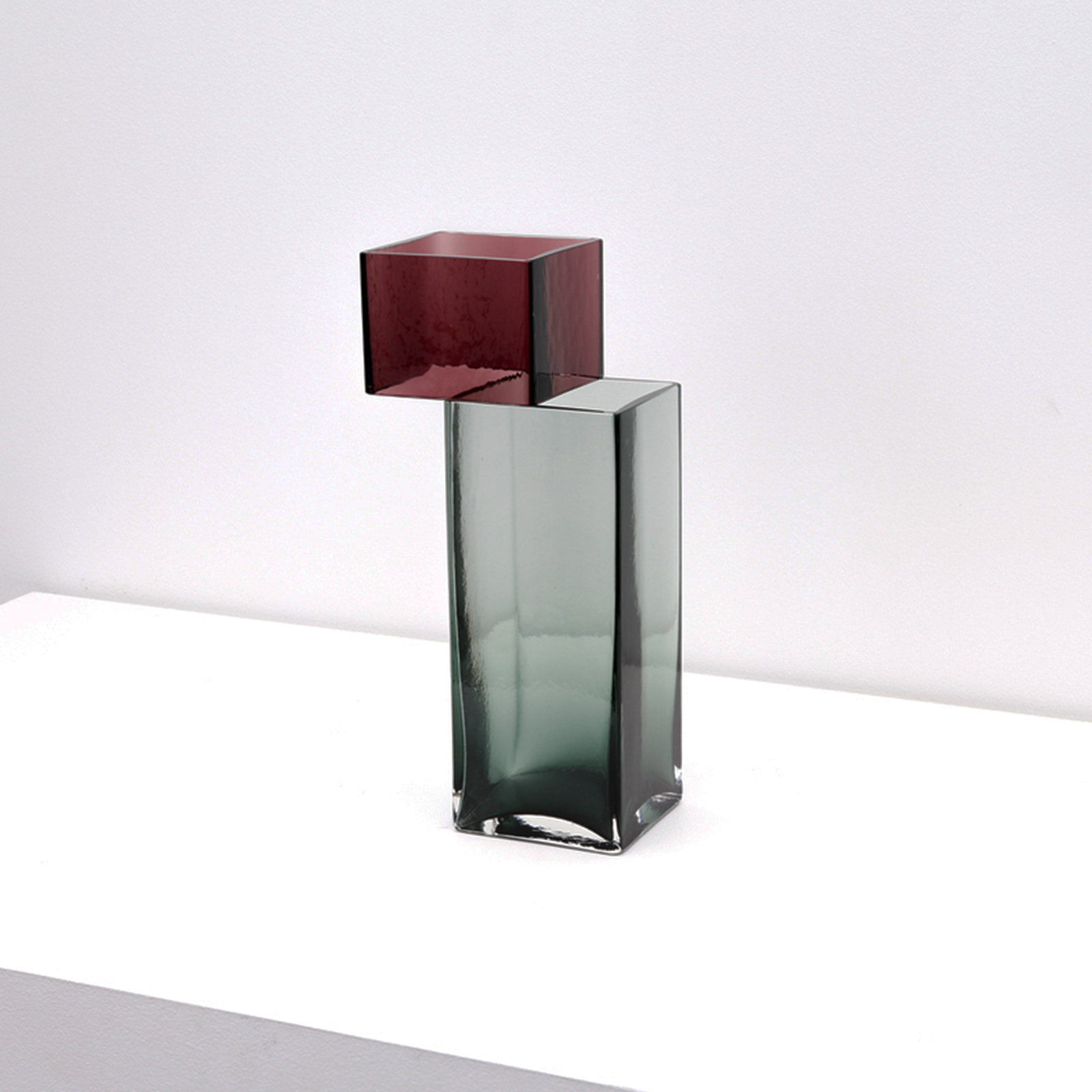 Graft Vase G In Burgundy And Fog Hand Blown Glass By Liam Fleming 2