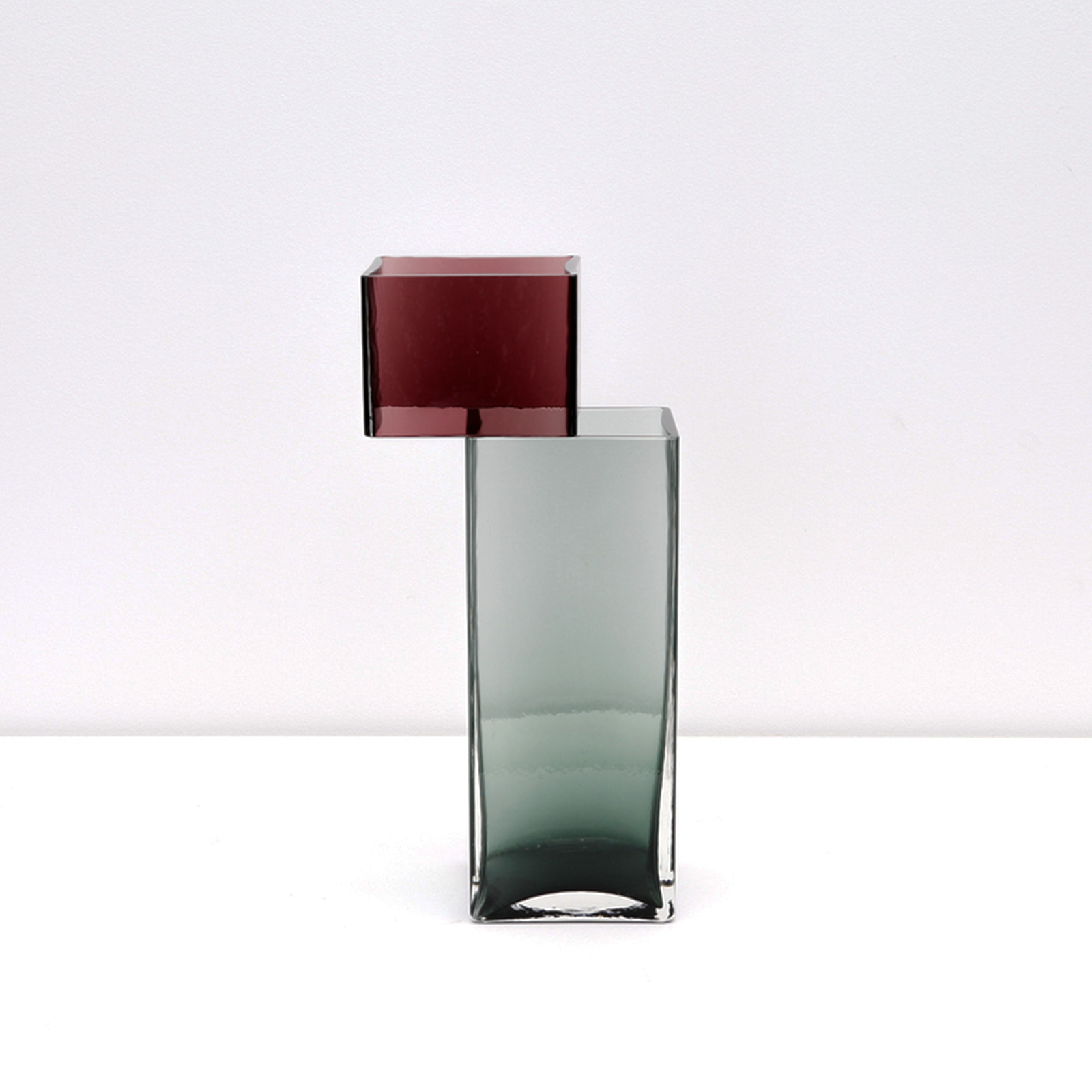 Graft Vase G In Burgundy And Fog Hand Blown Glass By Liam Fleming Hero
