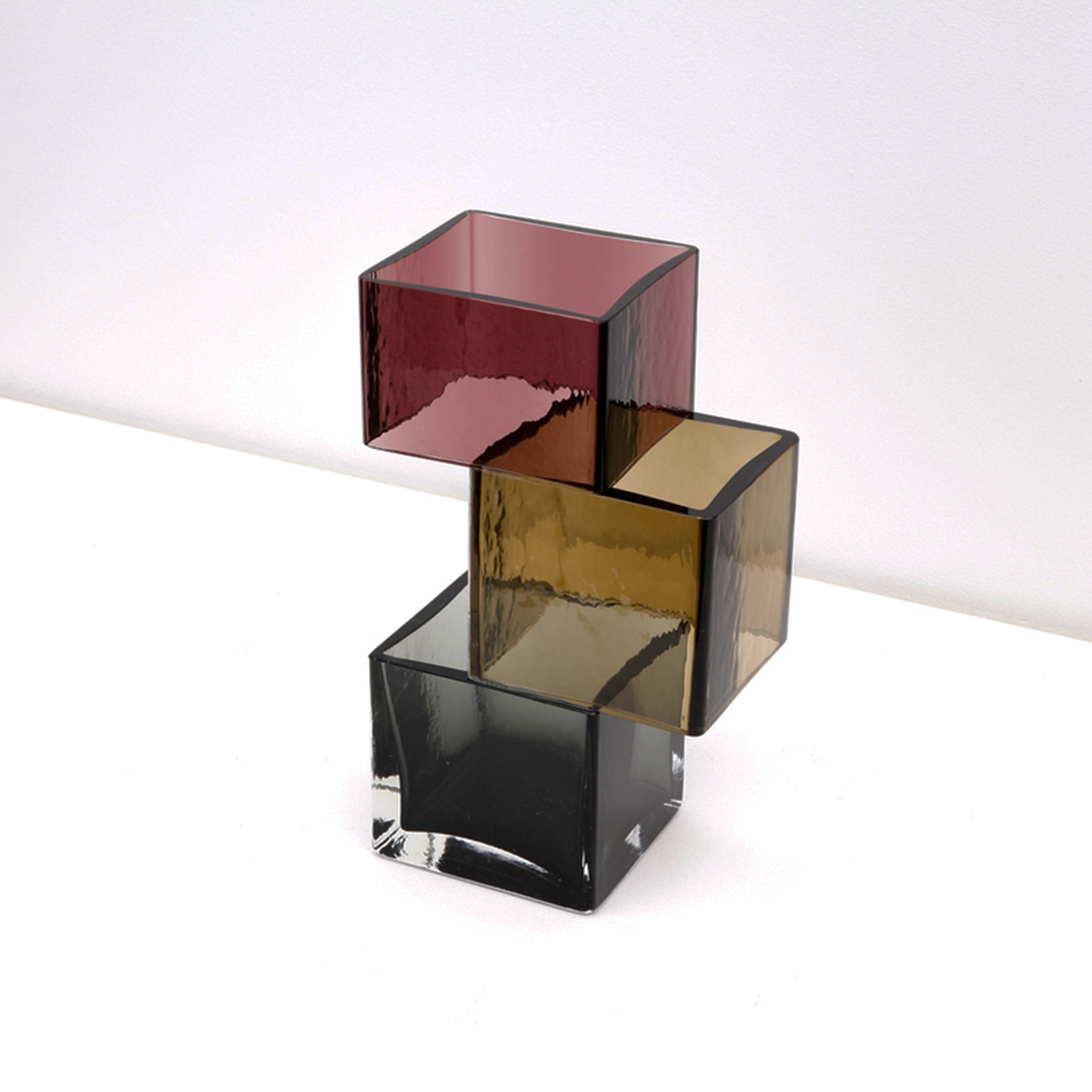 Graft Vase Triad In Burgundy, Cognac And Smoke Hand Blown Glass By Liam Fleming 2