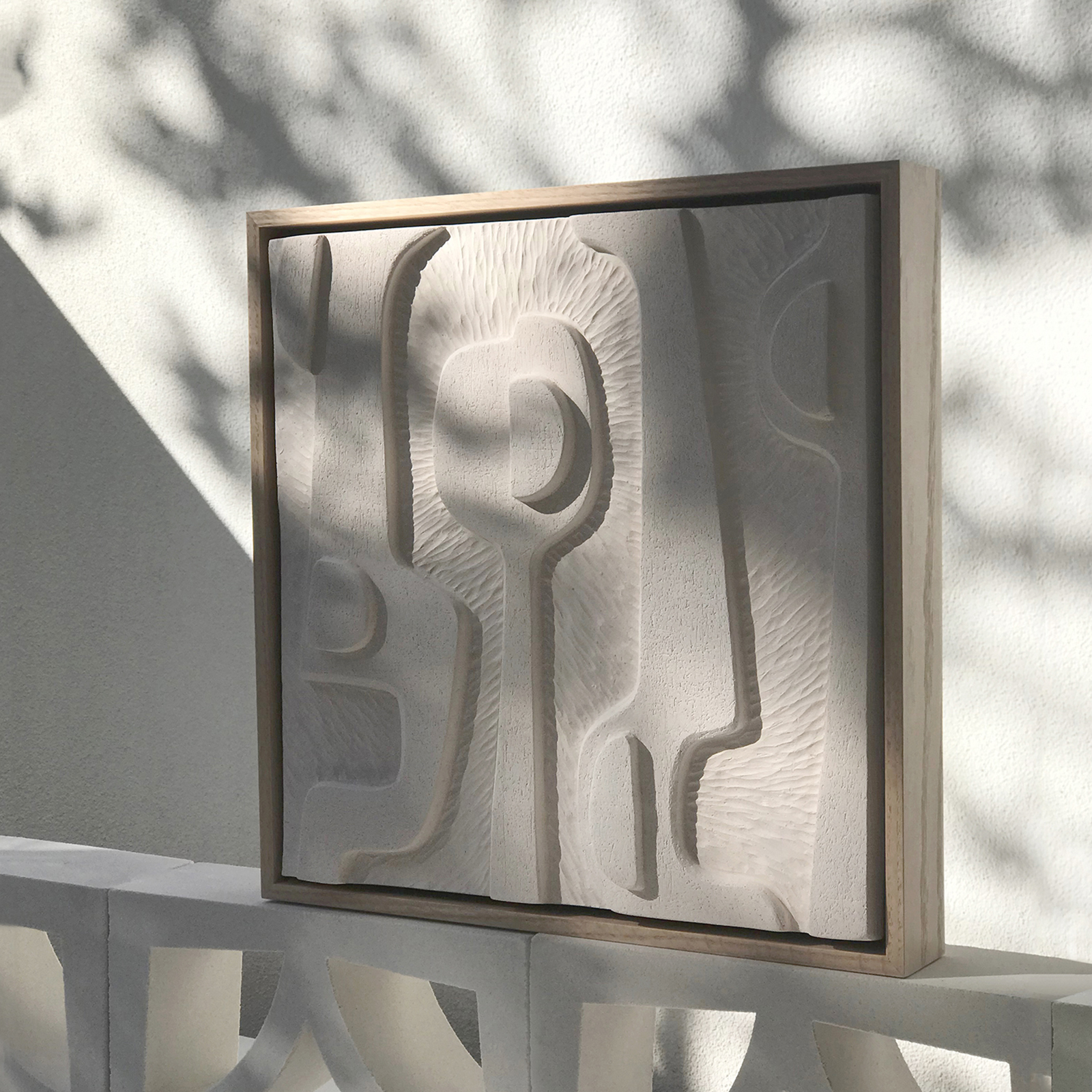 Large Abstract Relief Tile In Warm White Coarse Clay And Framed In Oak By Jan Vogelpoel 2