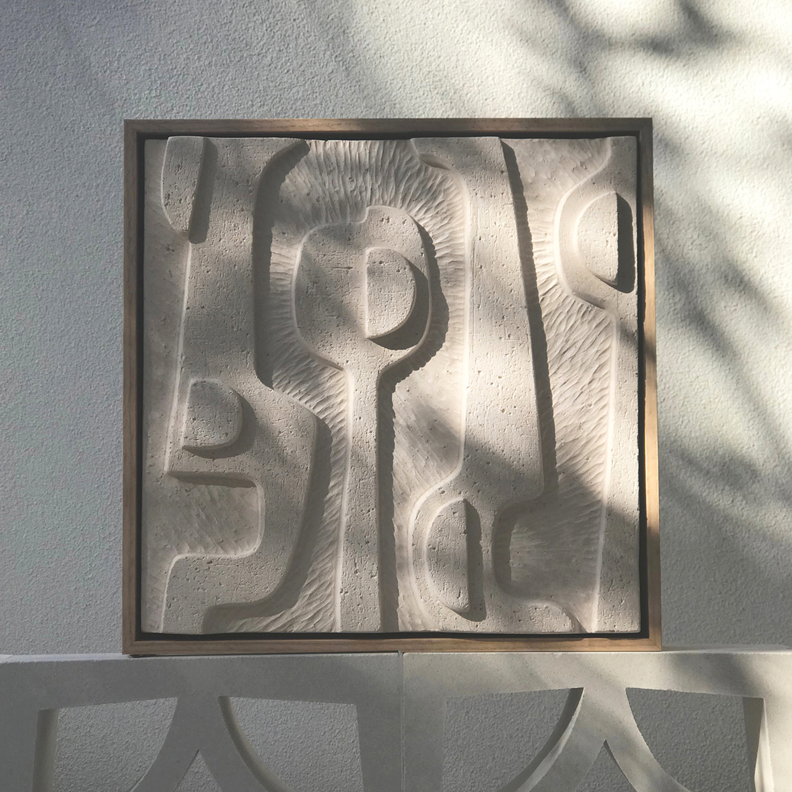 Large Abstract Relief Tile In Warm White Coarse Clay And Framed In Oak By Jan Vogelpoel Hero