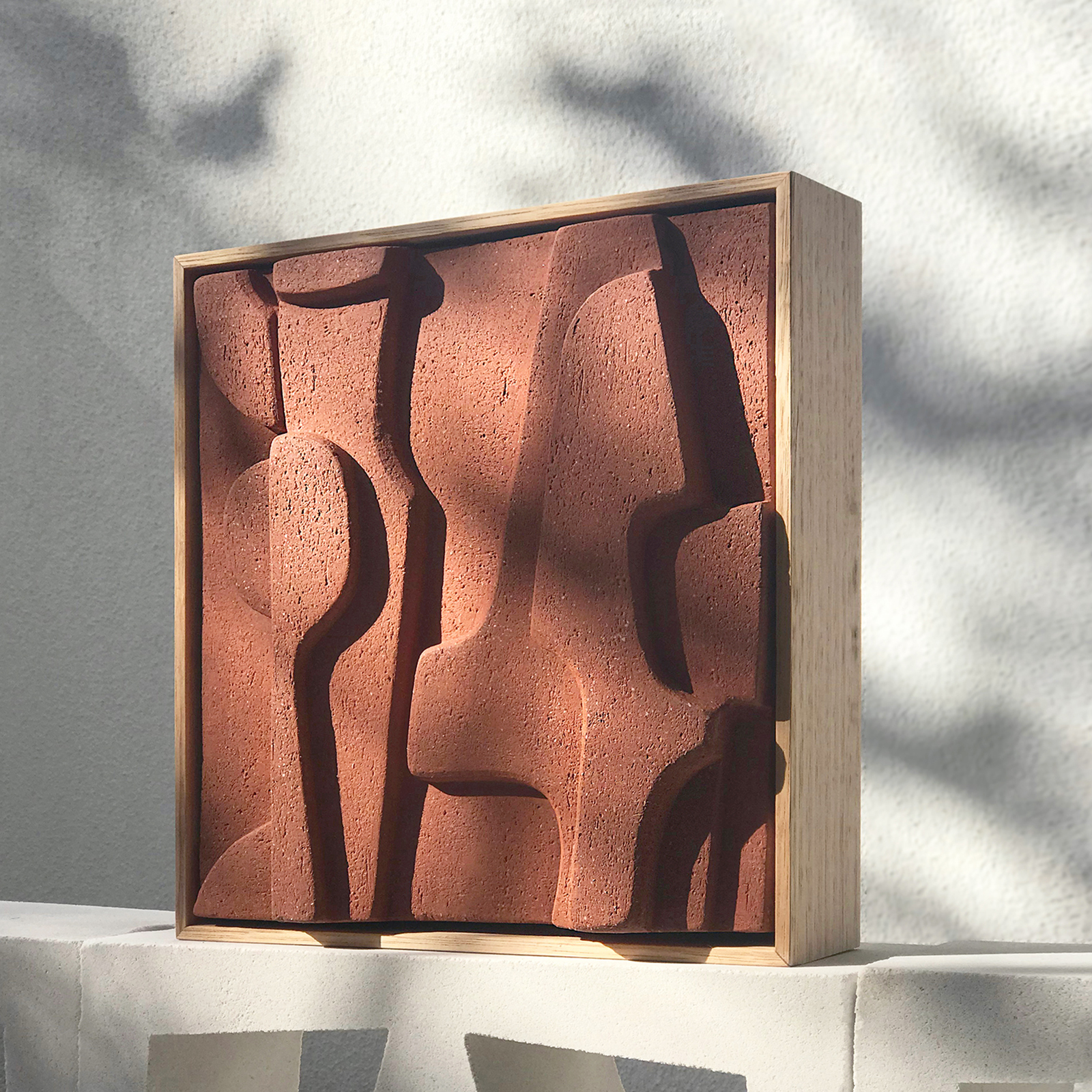 Small Abstract Relief Tile In Terracotta And Framed In Oak By Jan Vogelpoel Hero