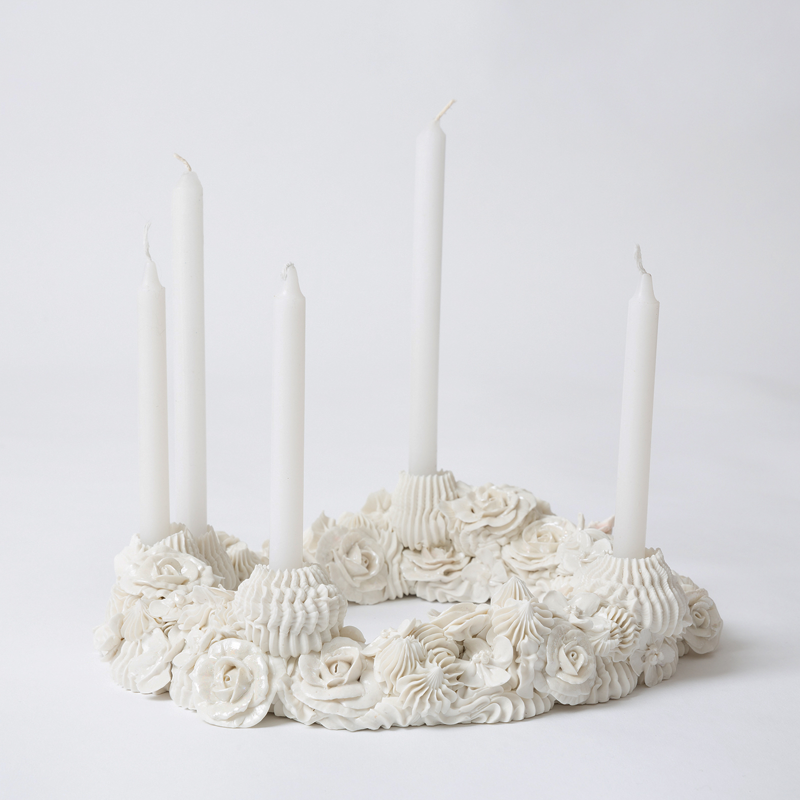 White Piped Rose Ring With Five Candlesticks In Porcelain By Ebony Russell Hero