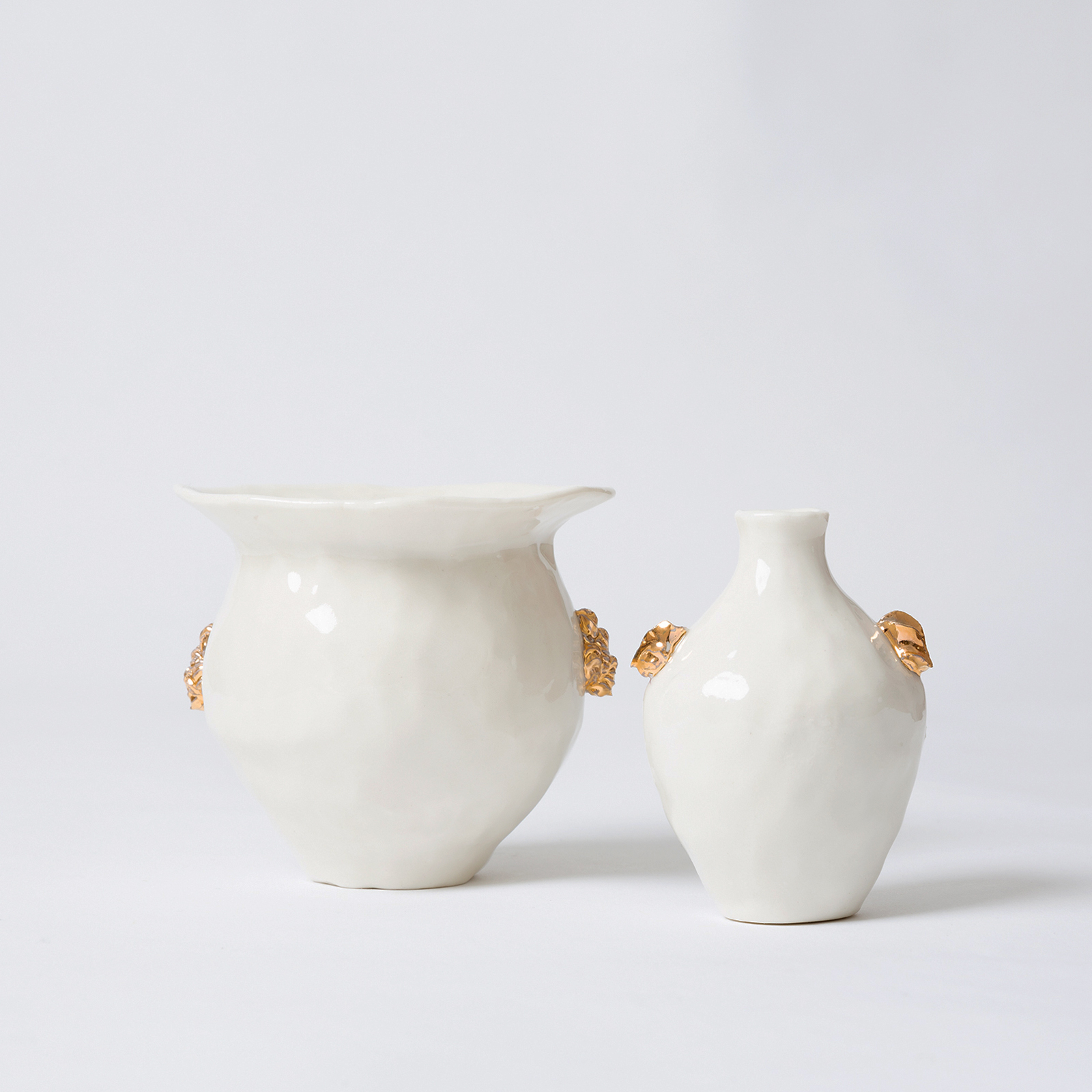 White Urn With Gold Lustre In Porcelain By Ebony Russell Hero