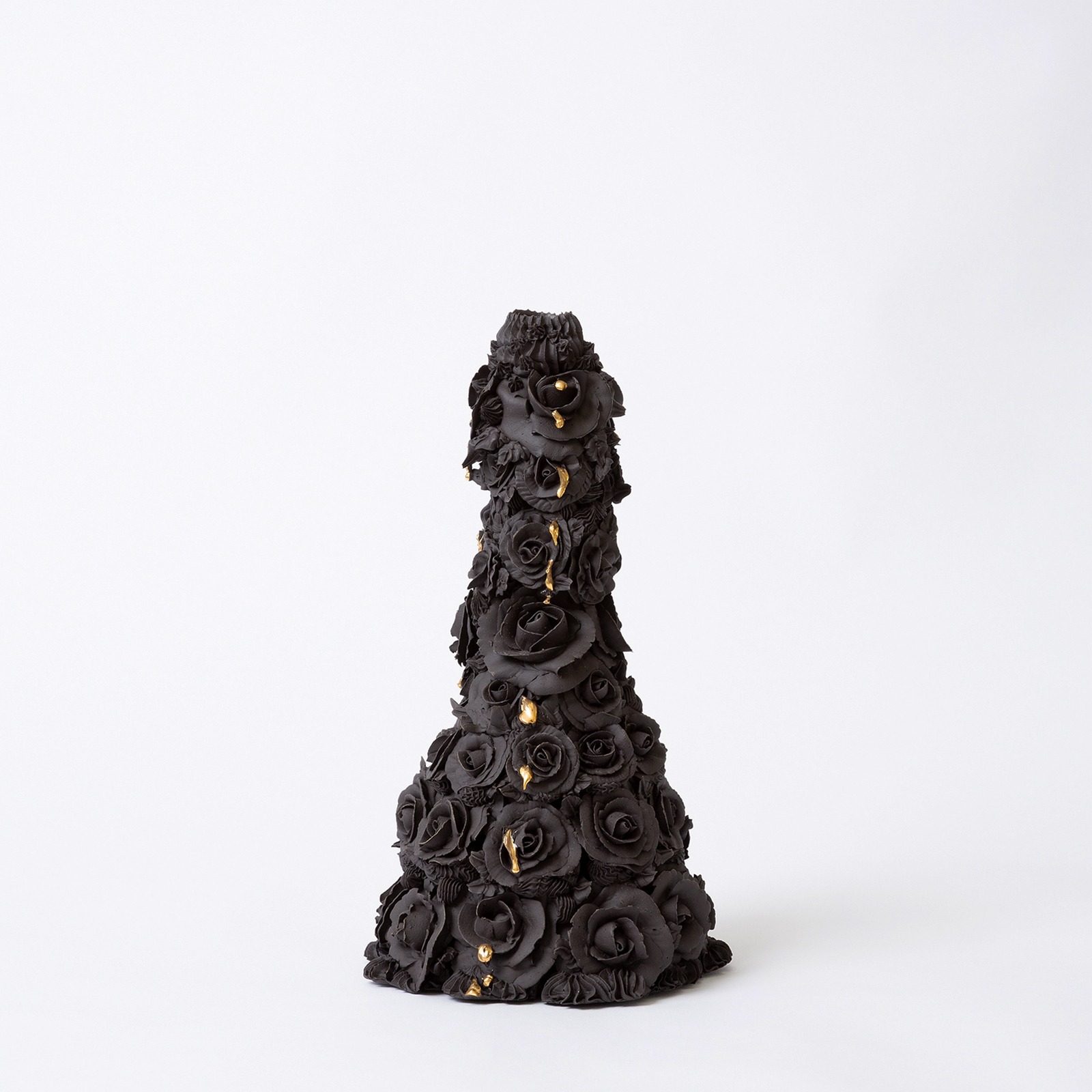 Crying Rose Candelabra In Black With Kitsch Tears In Hand Piped Porcelain By Ebony Russell Hero