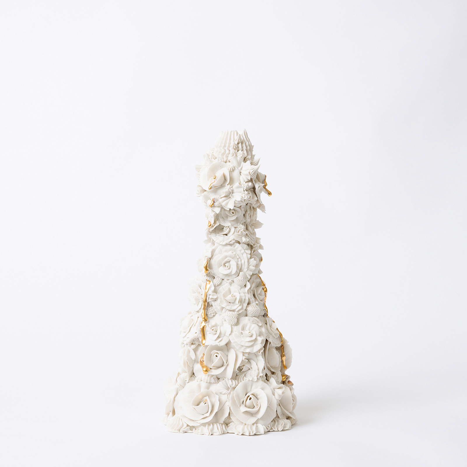 Crying Rose Candelabra In White With Kitsch Tears In Hand Piped Porcelain By Ebony Russell Hero