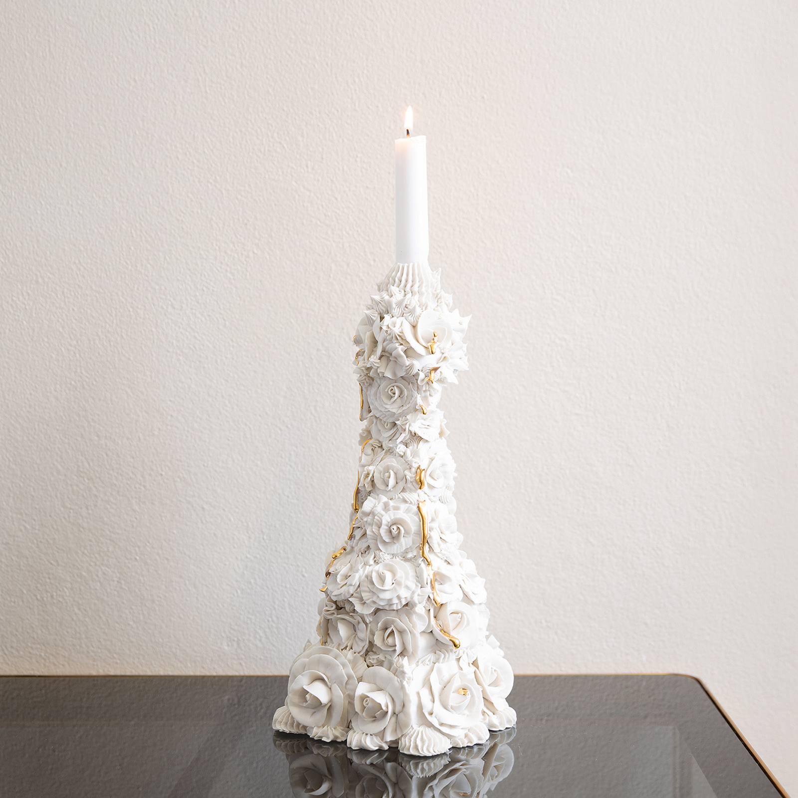 Crying Rose Candelabra In White With Kitsch Tears In Hand Piped Porcelain By Ebony Russell2
