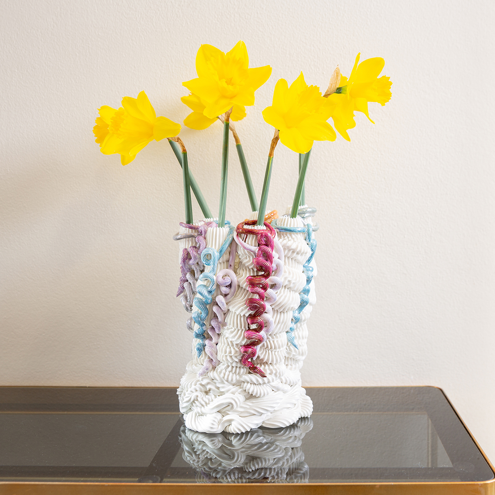 Fuddling Vase With Applied Loopdeloops In Hand Piped Porcelain By Ebony Russell 2