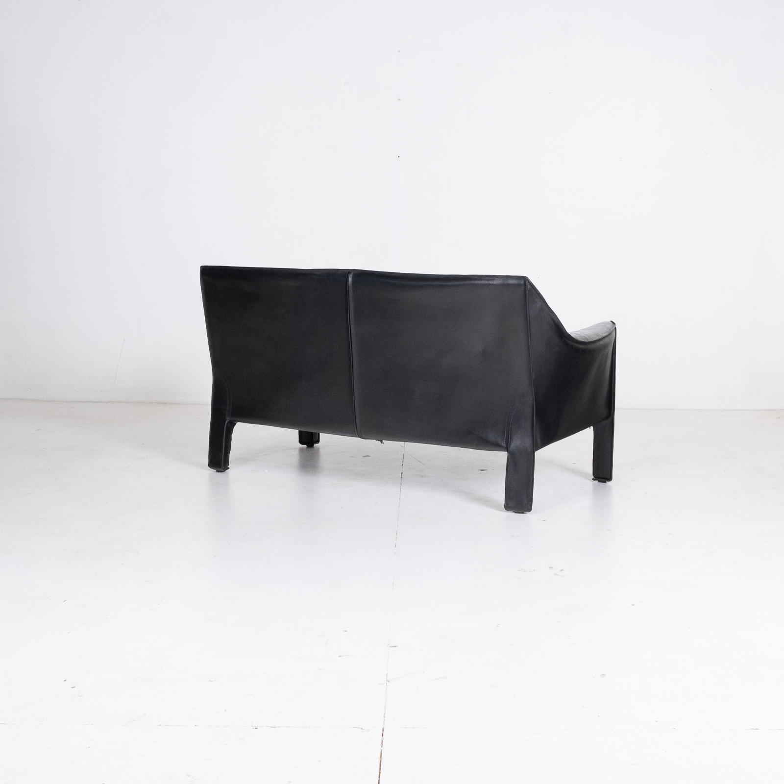 Model 415 Cab 2 Seat Sofa By Mario Bellini For Cassina In Black Leather, 1987, Italy 00005