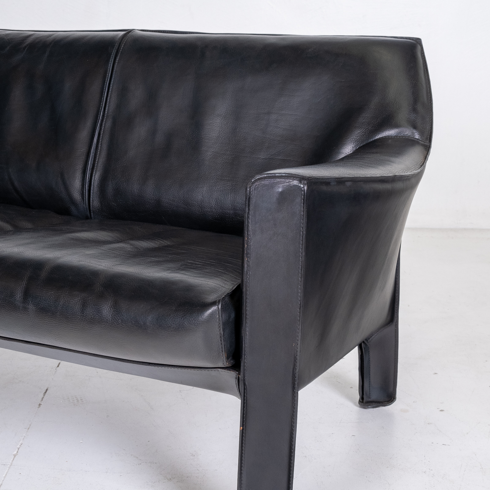 Model 415 Cab 2 Seat Sofa By Mario Bellini For Cassina In Black Leather, 1987, Italy 00006