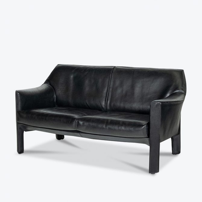 Model 415 Cab 2 Seat Sofa By Mario Bellini For Cassina In Black Leather, 1987, Italy Thumb Deepetched
