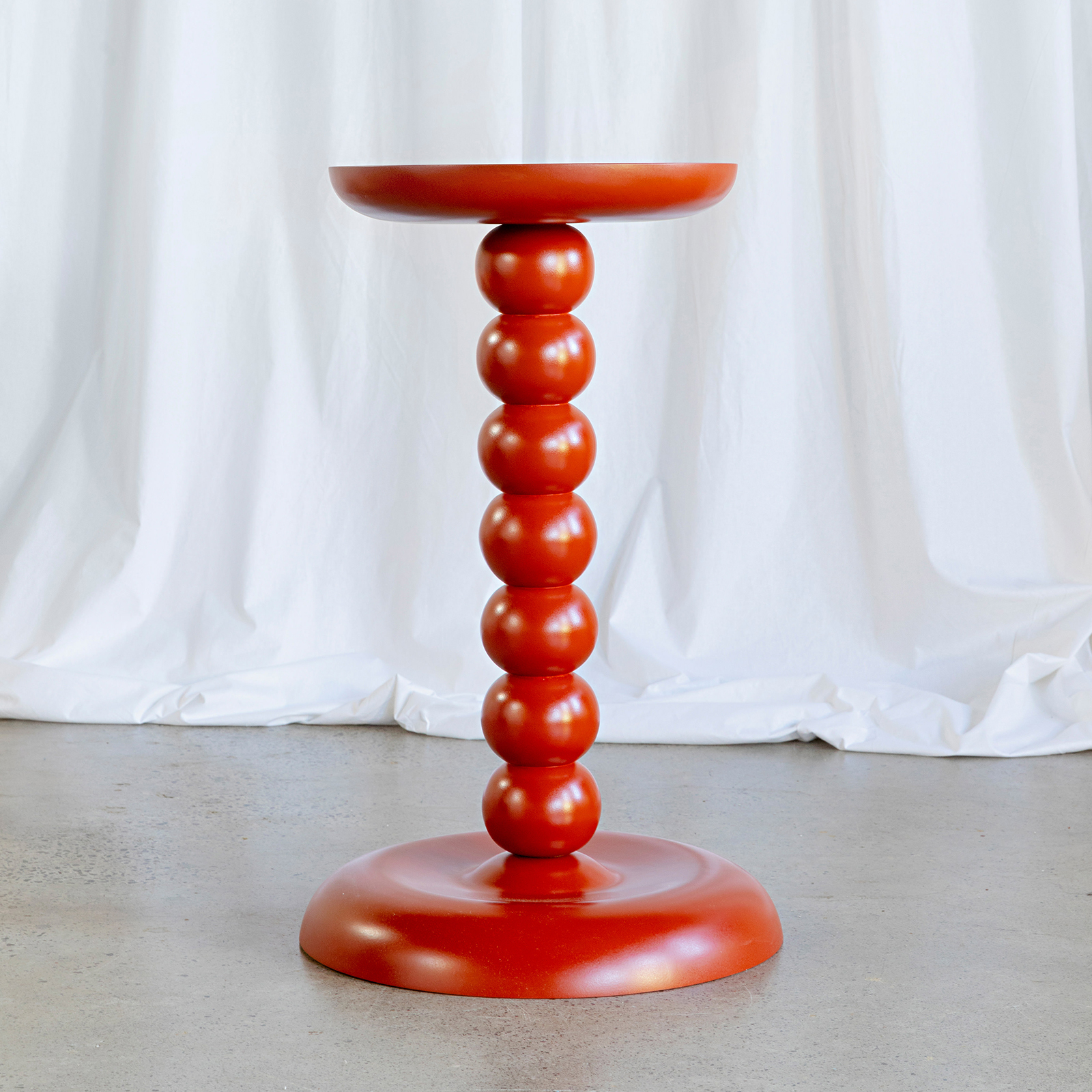 Chain Plinth In Timber With Red Gloss By Zachary Frankel Hero