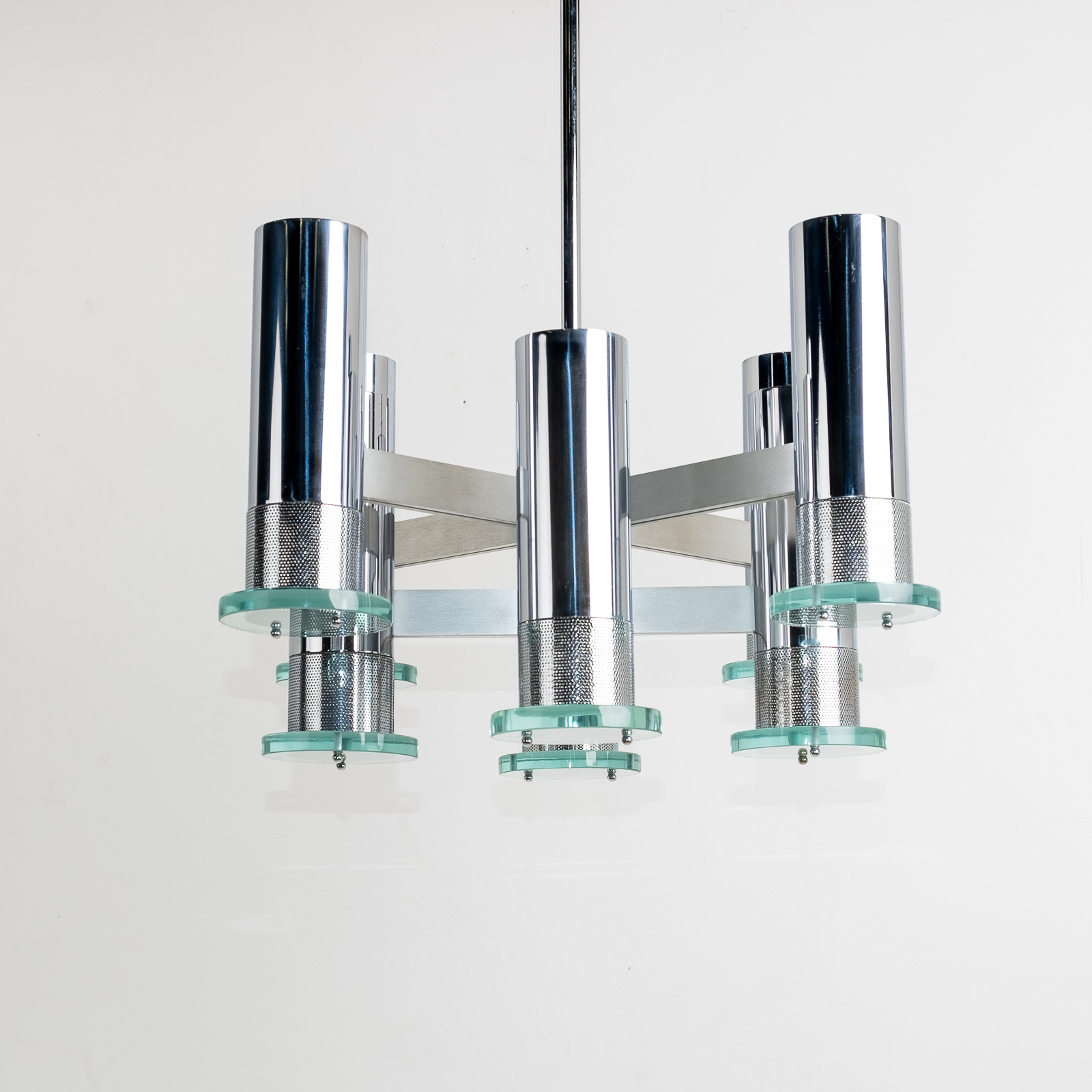 Chrome And Glass Pendant By Gaetano Sciolari, 1980s, Italy 00014