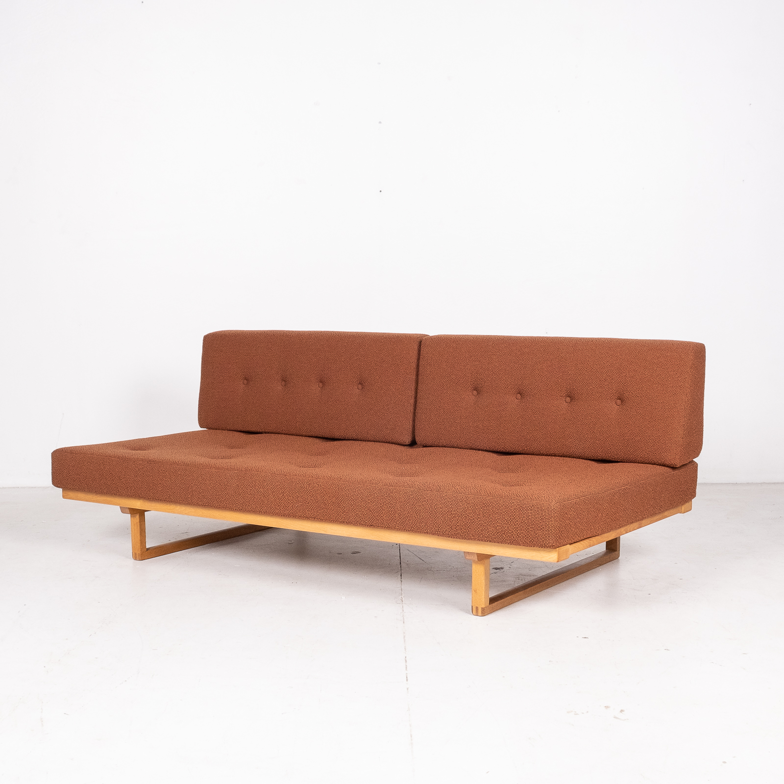 Model 4312 Daybed By Borge Mogensen For Fredericia Stolefabrik In Oak And New Kvadrat Wool Upholstery, Denmark, 1950s7