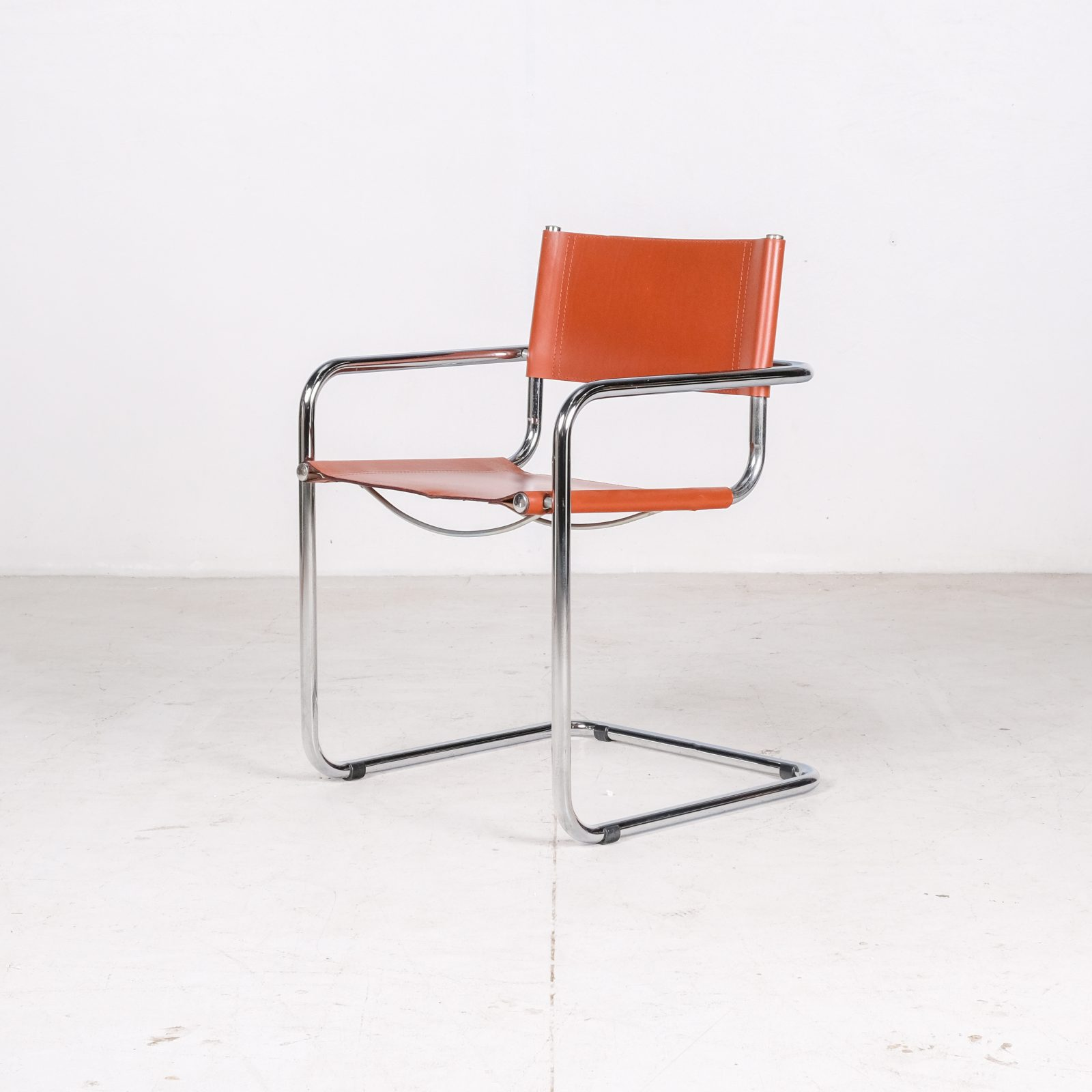 Set Of 4 Model S34 Cantilever Chairs In Cognac Leather By Mart Stam For Thonet, 1980s, Germany Oh
