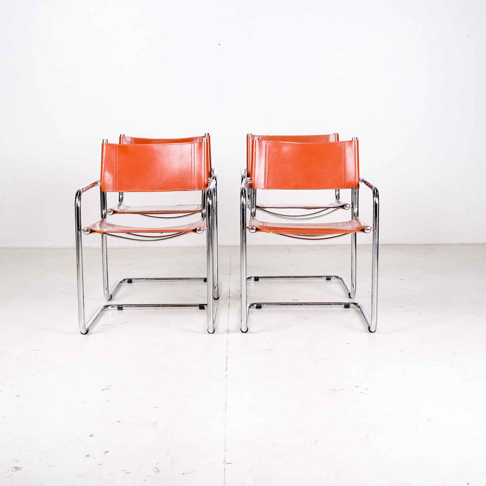 Set Of 4 Model S34 Cantilever Chairs In Cognac Leather By Mart Stam For Thonet, 1980s, Germany002