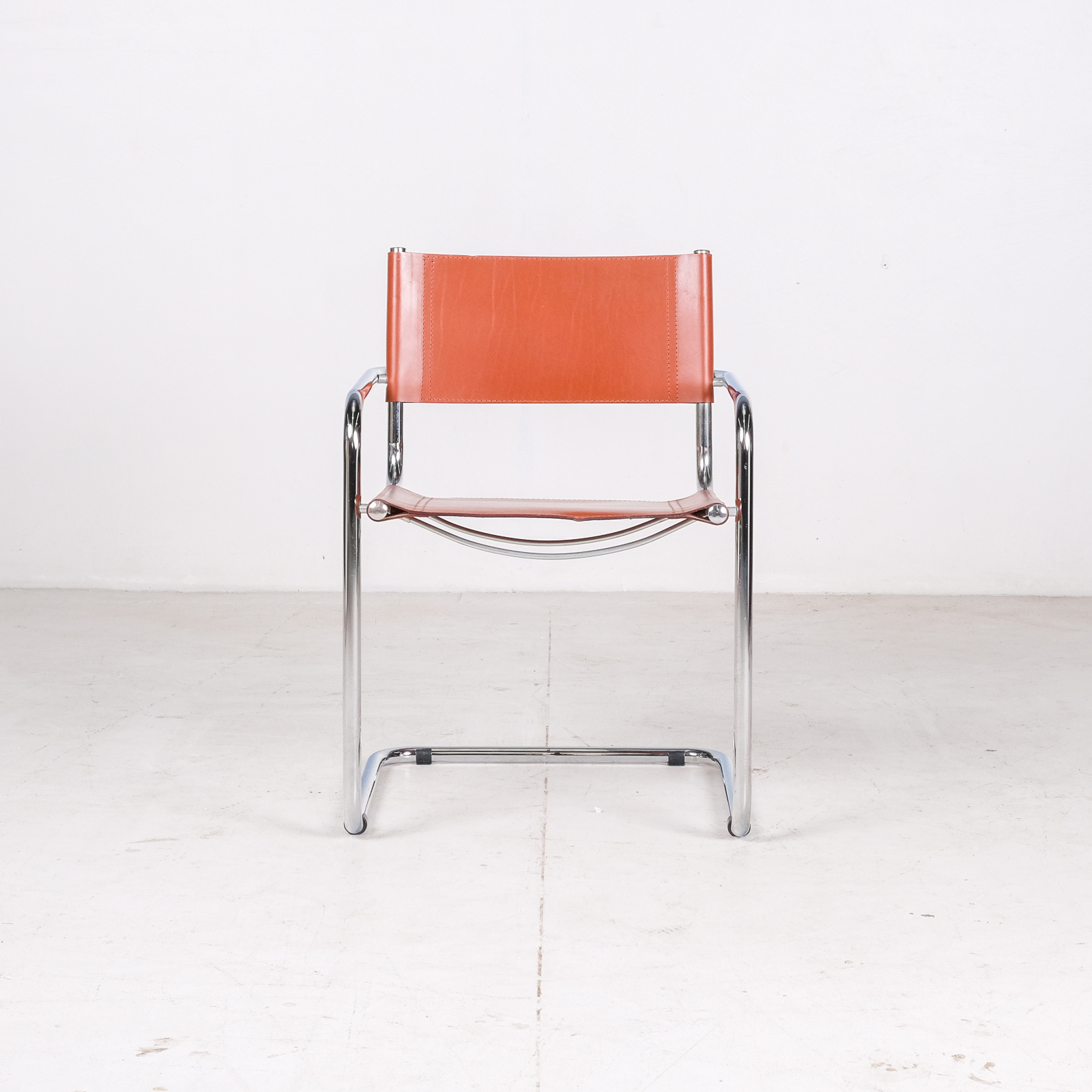 Set Of 4 Model S34 Cantilever Chairs In Cognac Leather By Mart Stam For Thonet, 1980s, Germany004