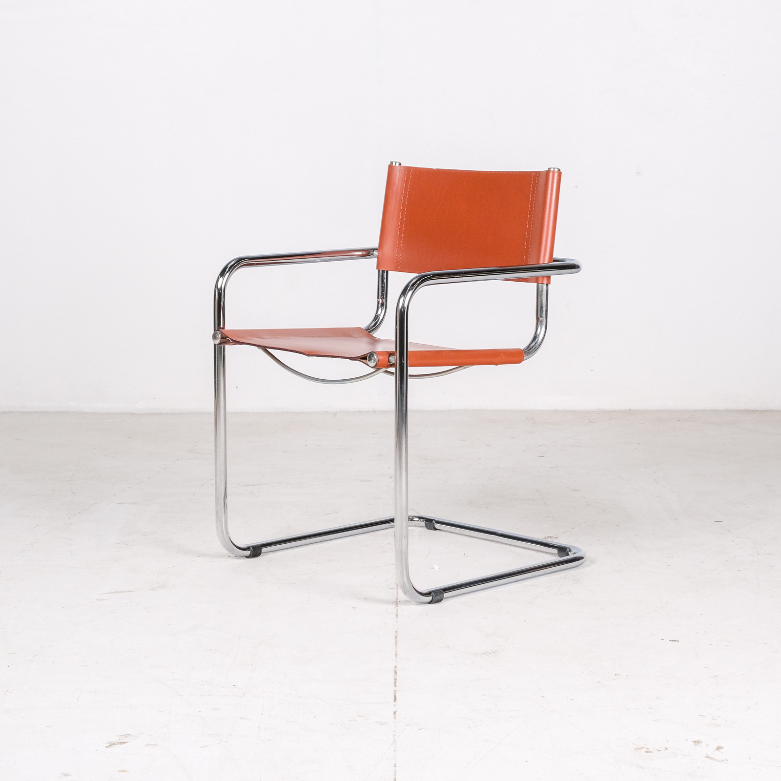 Set Of 4 Model S34 Cantilever Chairs In Cognac Leather By Mart Stam For Thonet, 1980s, Germany005