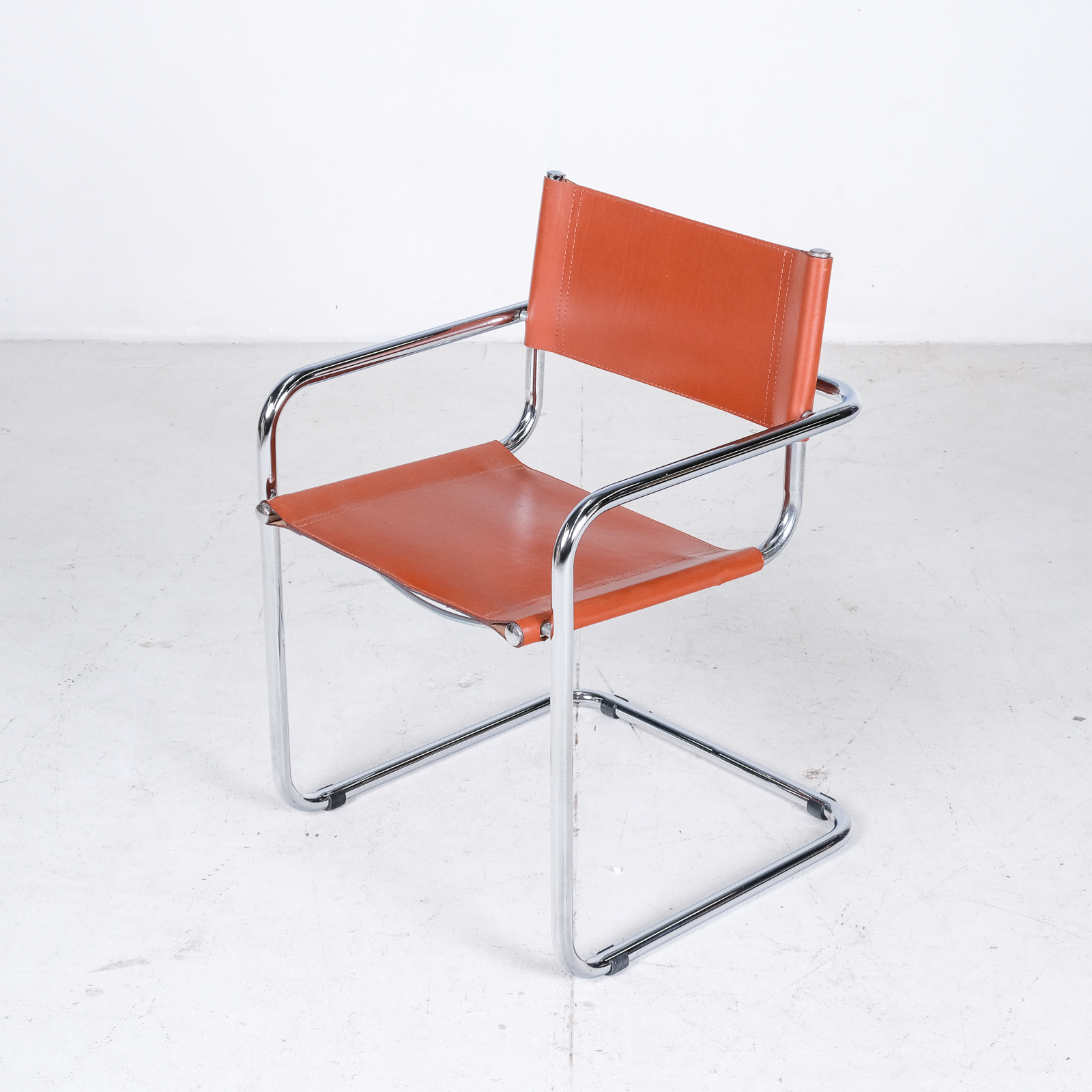 Set Of 4 Model S34 Cantilever Chairs In Cognac Leather By Mart Stam For Thonet, 1980s, Germany011
