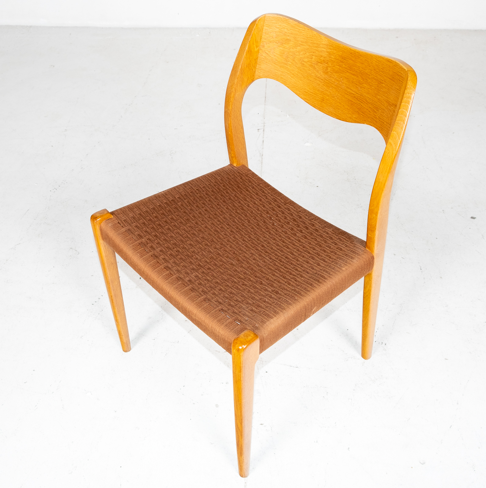 Set Of 6 Model 71 Dining Chairs By Niels Moller In Original Tan Wool Cord, 1960s, Denmark3
