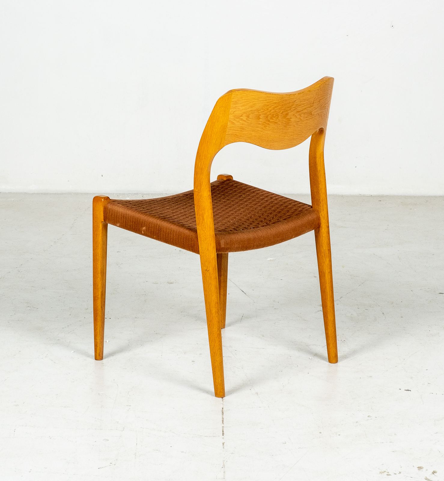 Set Of 6 Model 71 Dining Chairs By Niels Moller In Original Tan Wool Cord, 1960s, Denmark7